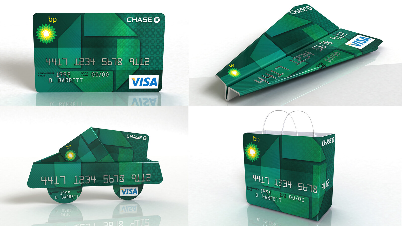 Four 3D illustrations to promote the BP Chase VISA card