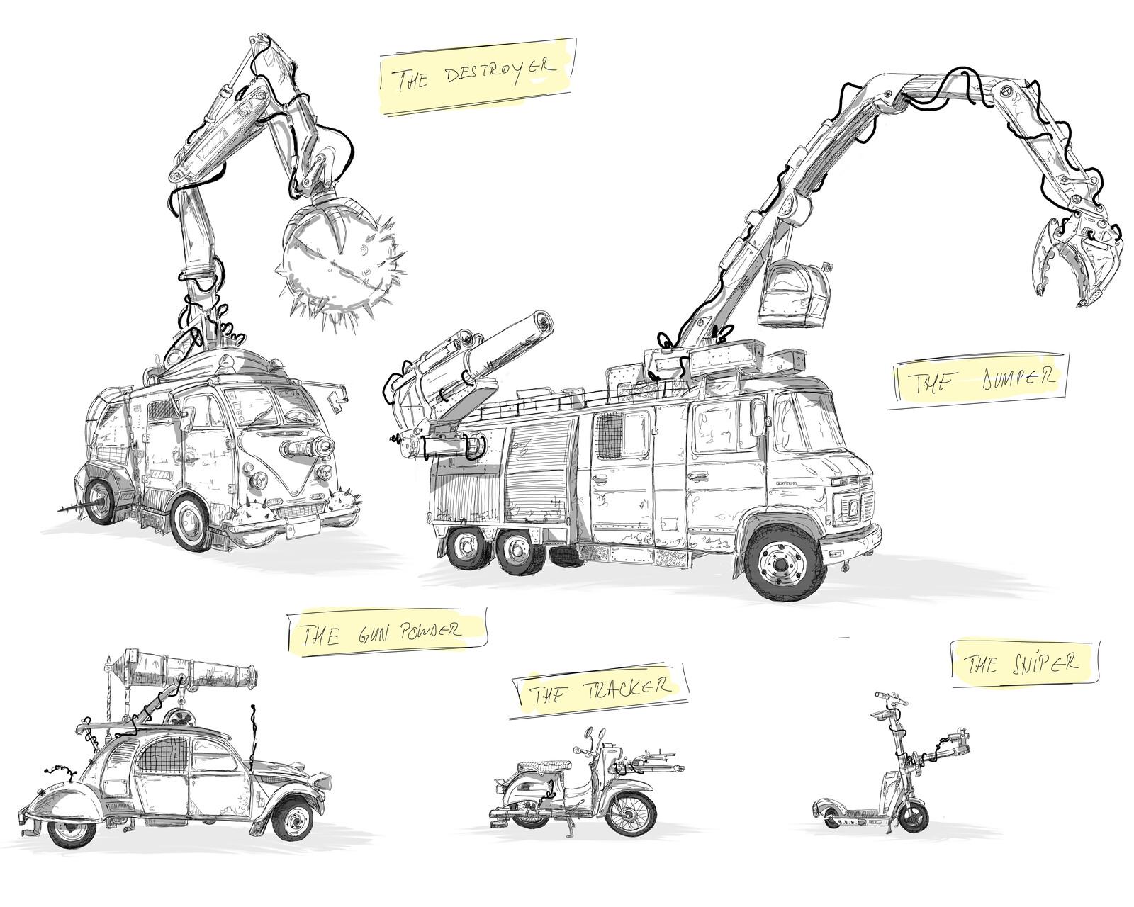 Five Wacky Racing Vehicles