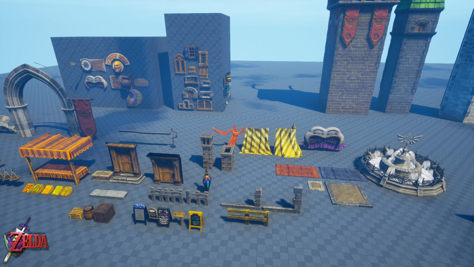 Some of the assets I made spread out. There's a lot more but it's been tricky to consolidate all of them. Some of them were exported inside larger meshes.
