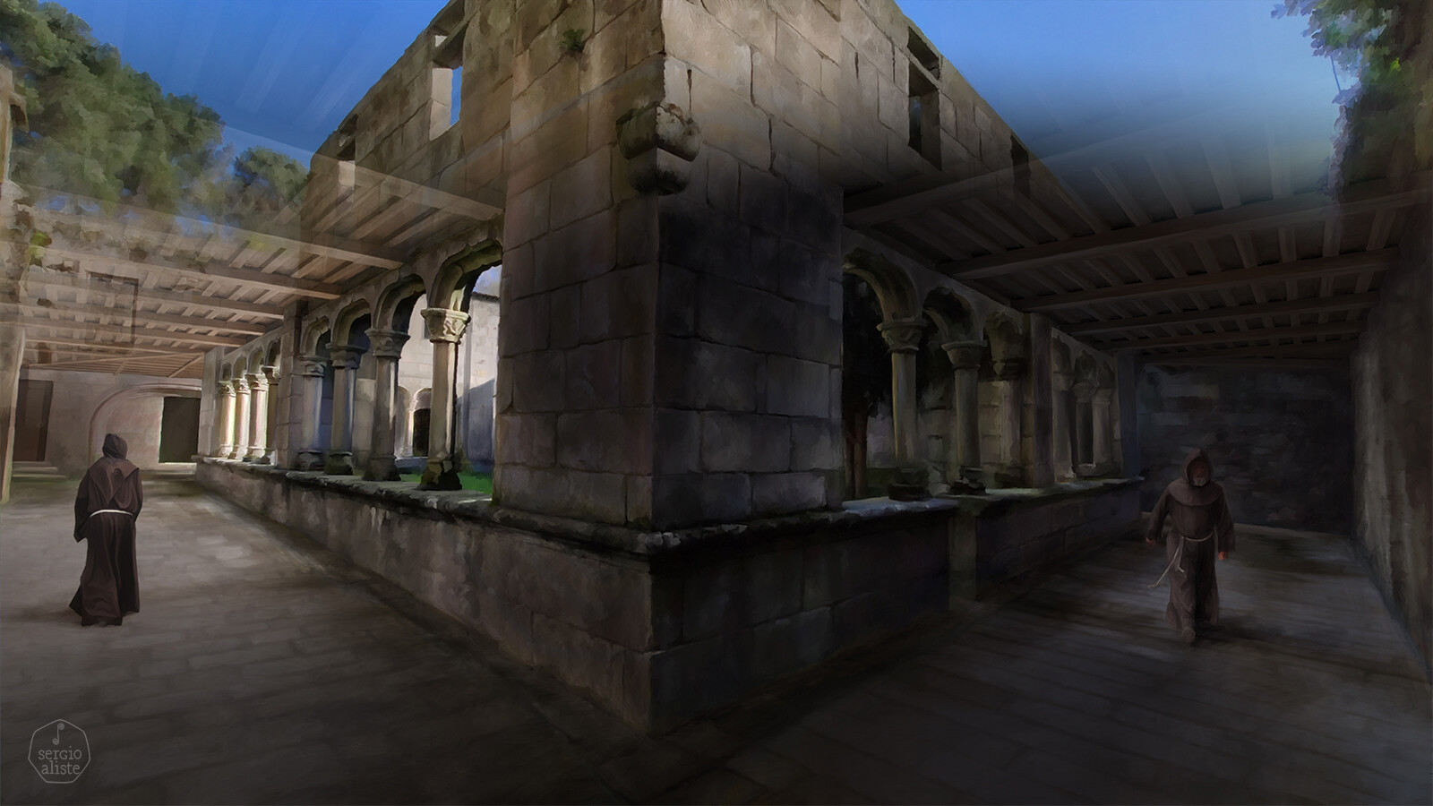 Reconstruction of a 16th century Franciscan cloister