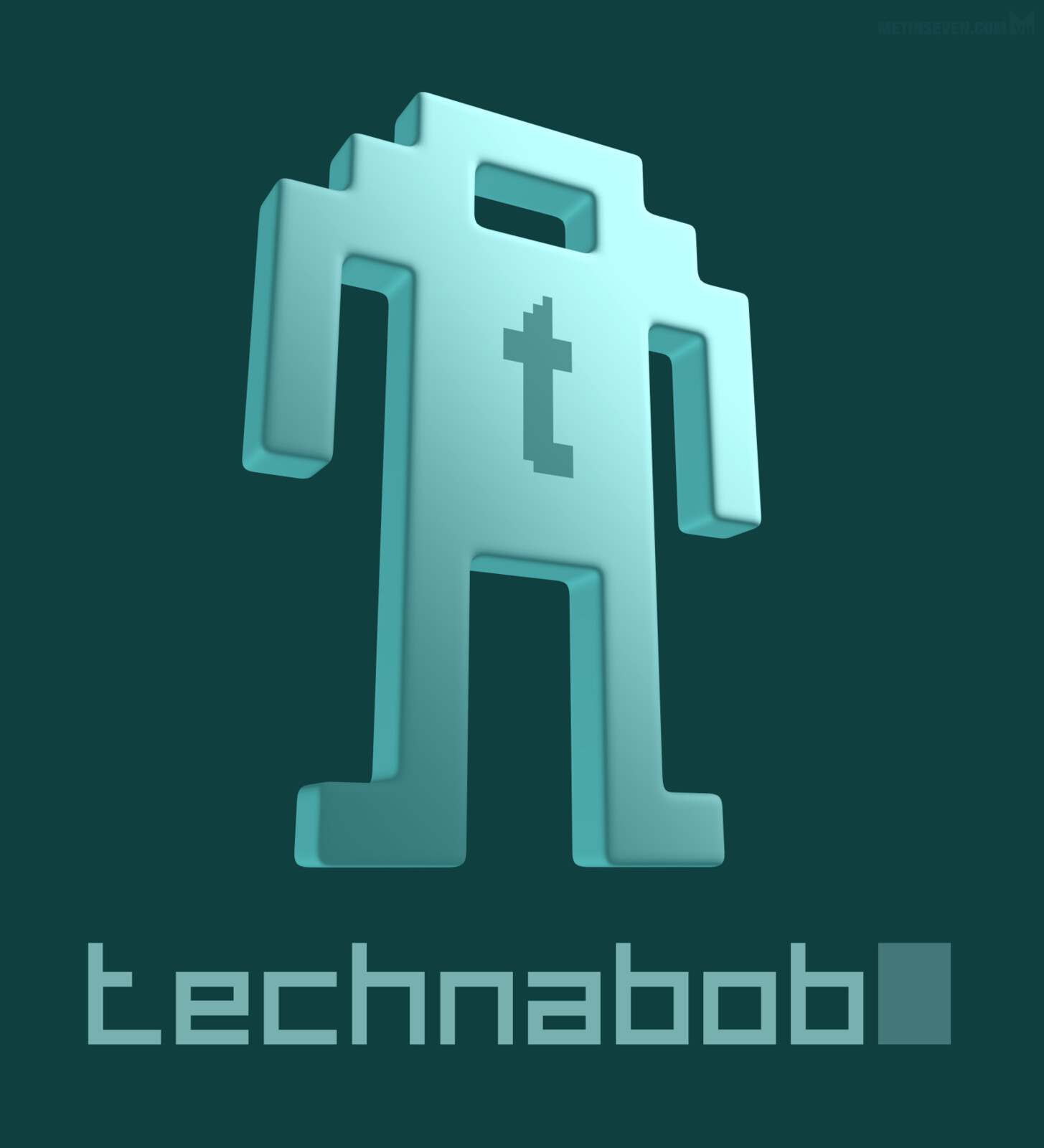 3D pixel style logo design for the Technabob blog