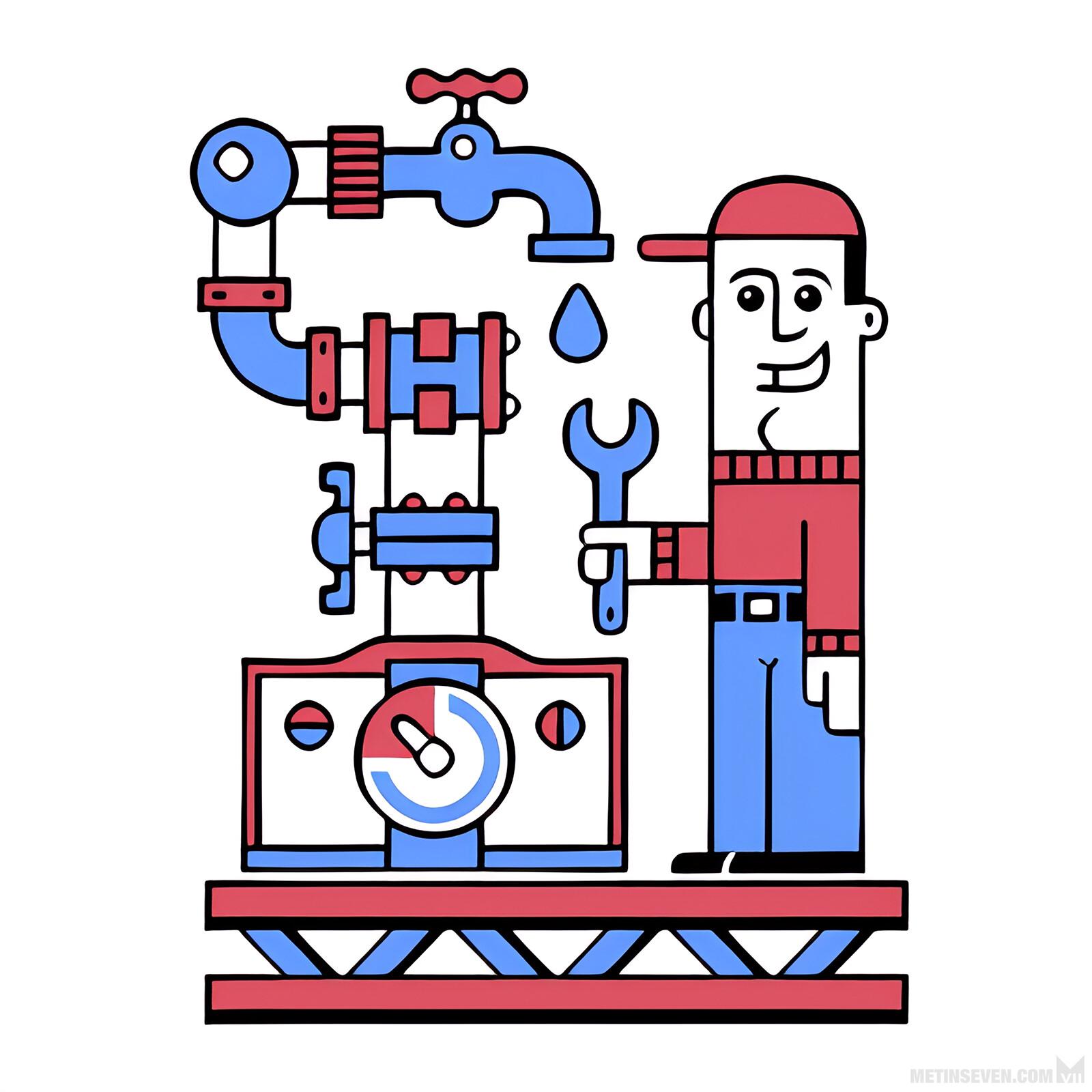 Retro cartoon style logo design for a plumbing company