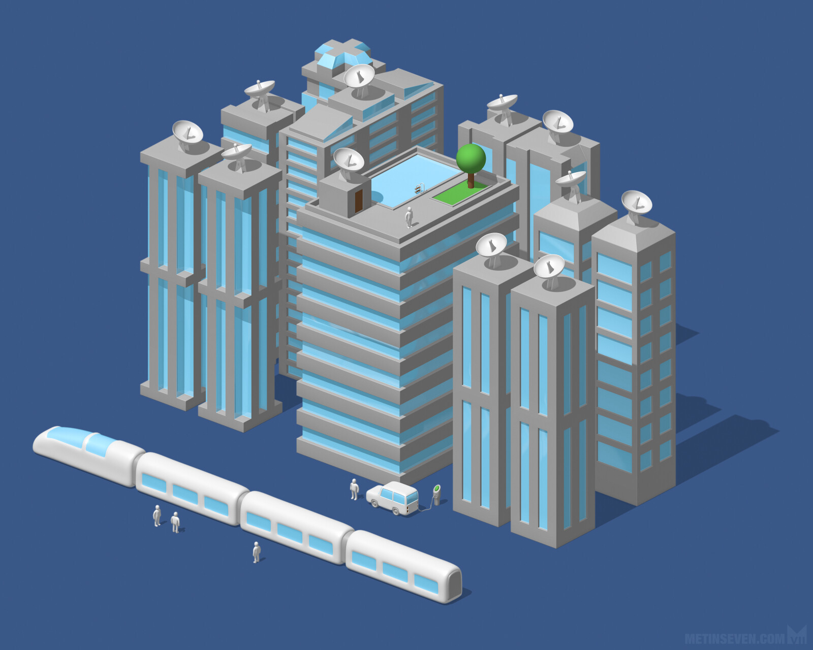 Stylized isometric illustration of a futuristic city