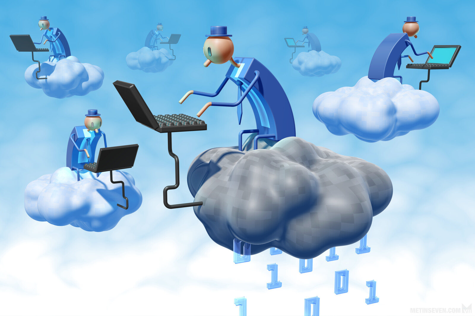 Editorial illustration about cloud computing