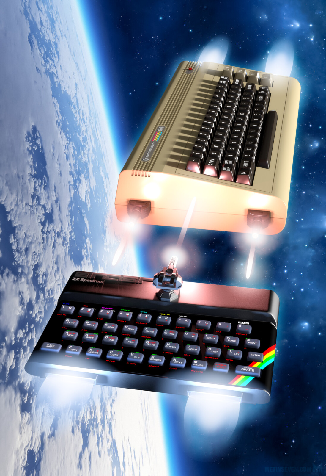 Commodore 64 vs Sinclair ZX Spectrum. Poster design for a retrocomputing documentary.