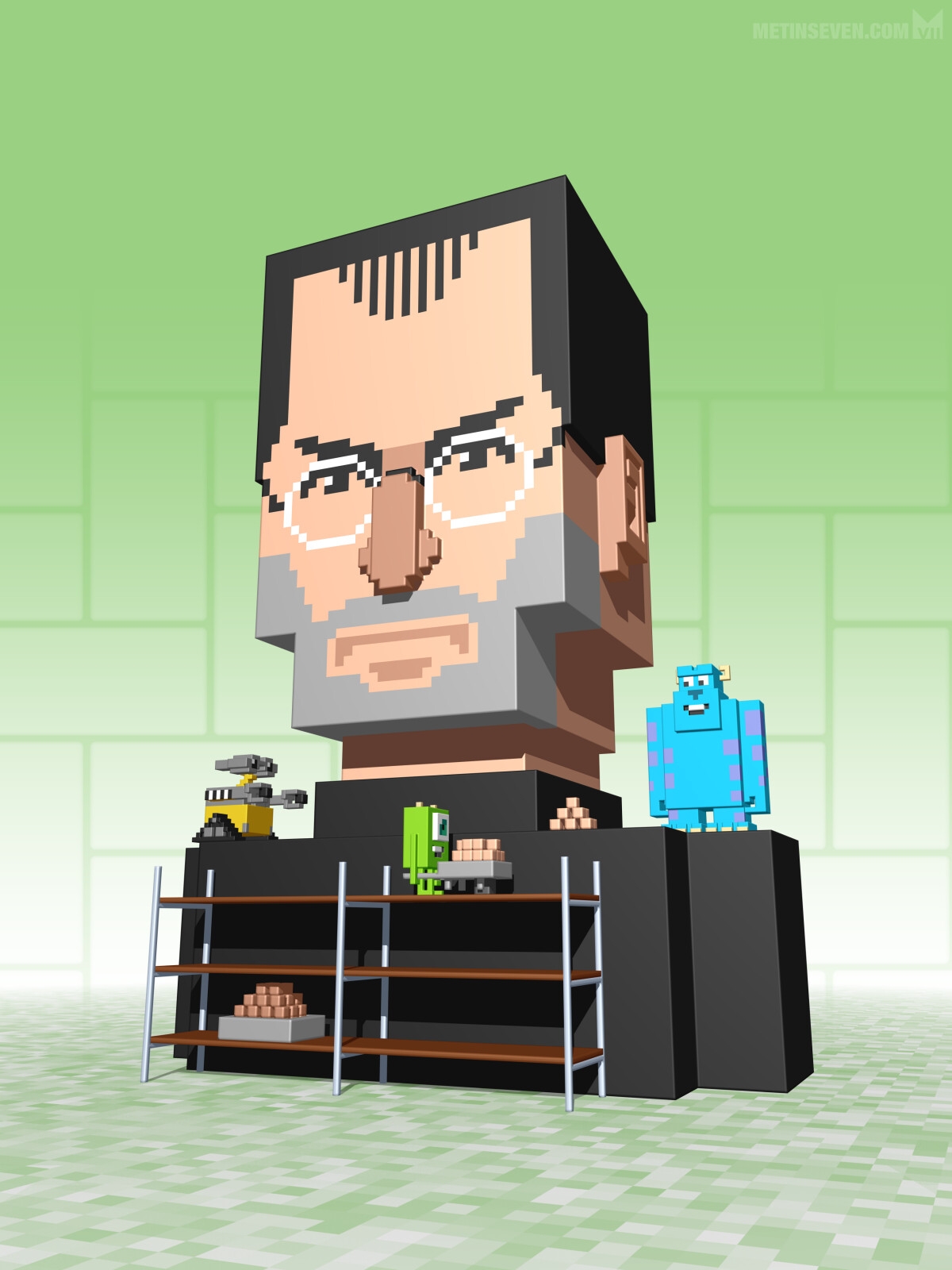 3D pixel style cover illustration regarding Steve Jobs and Pixar, for MacFan magazine