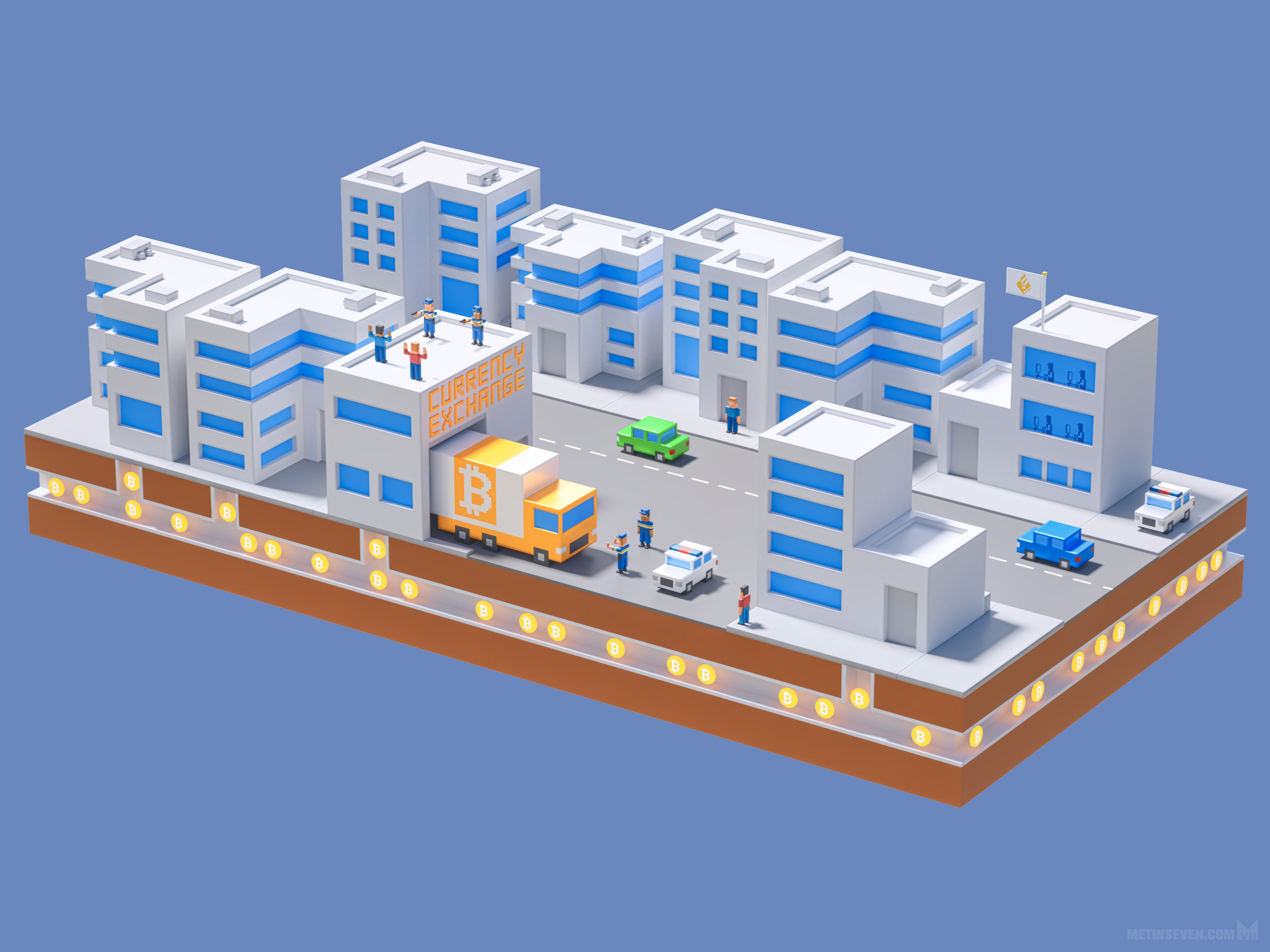 Isometric voxel-style Bitcoin money laundering crime infographics illustration for the Dutch National Police Corps