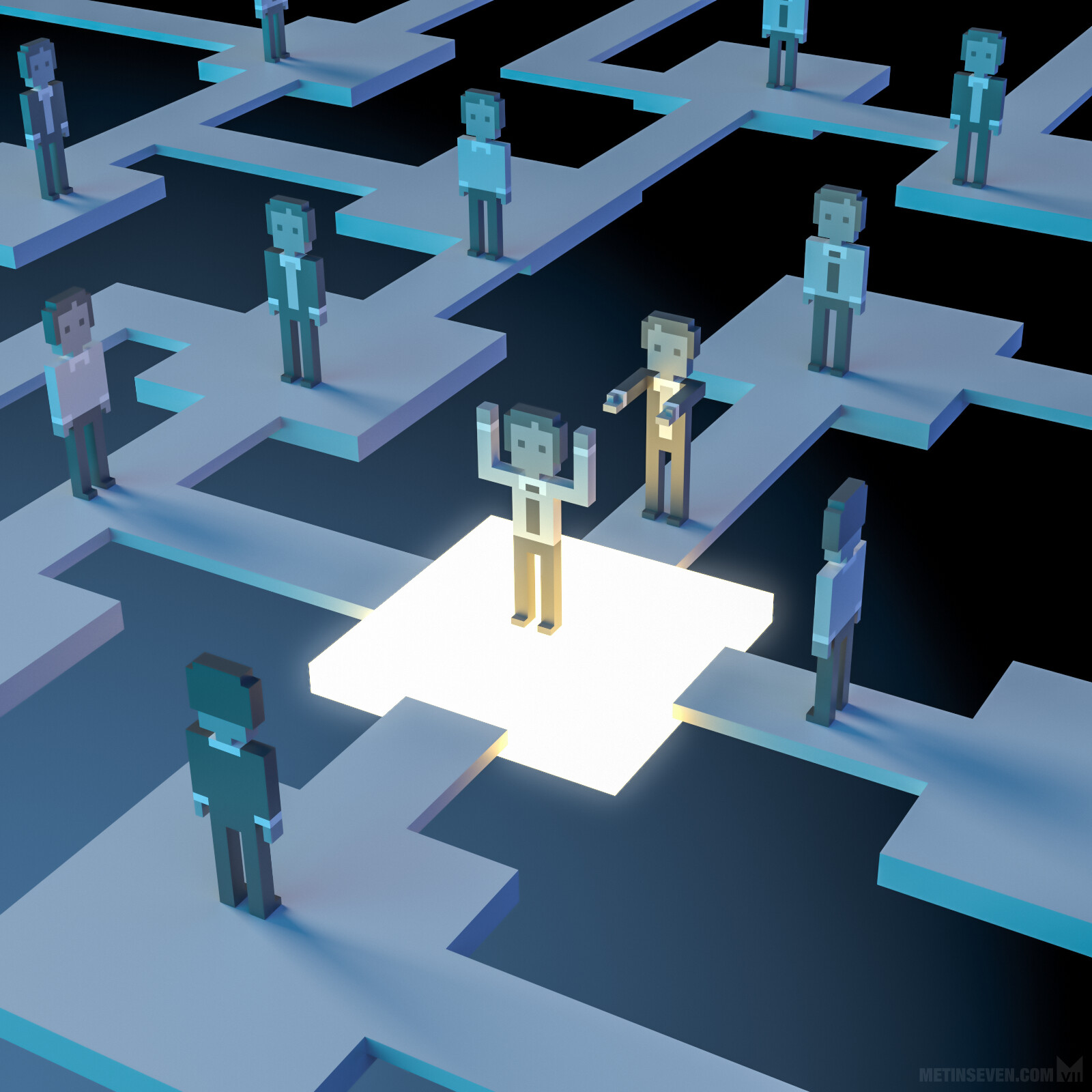 Voxel illustration about LinkedIn headhunters, for Elsevier Weekly magazine