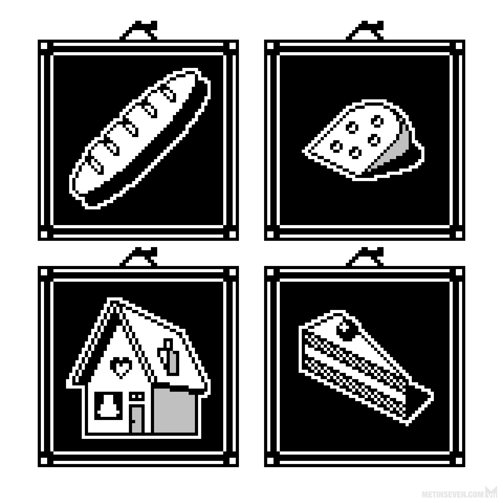 Black and white pixel art icons