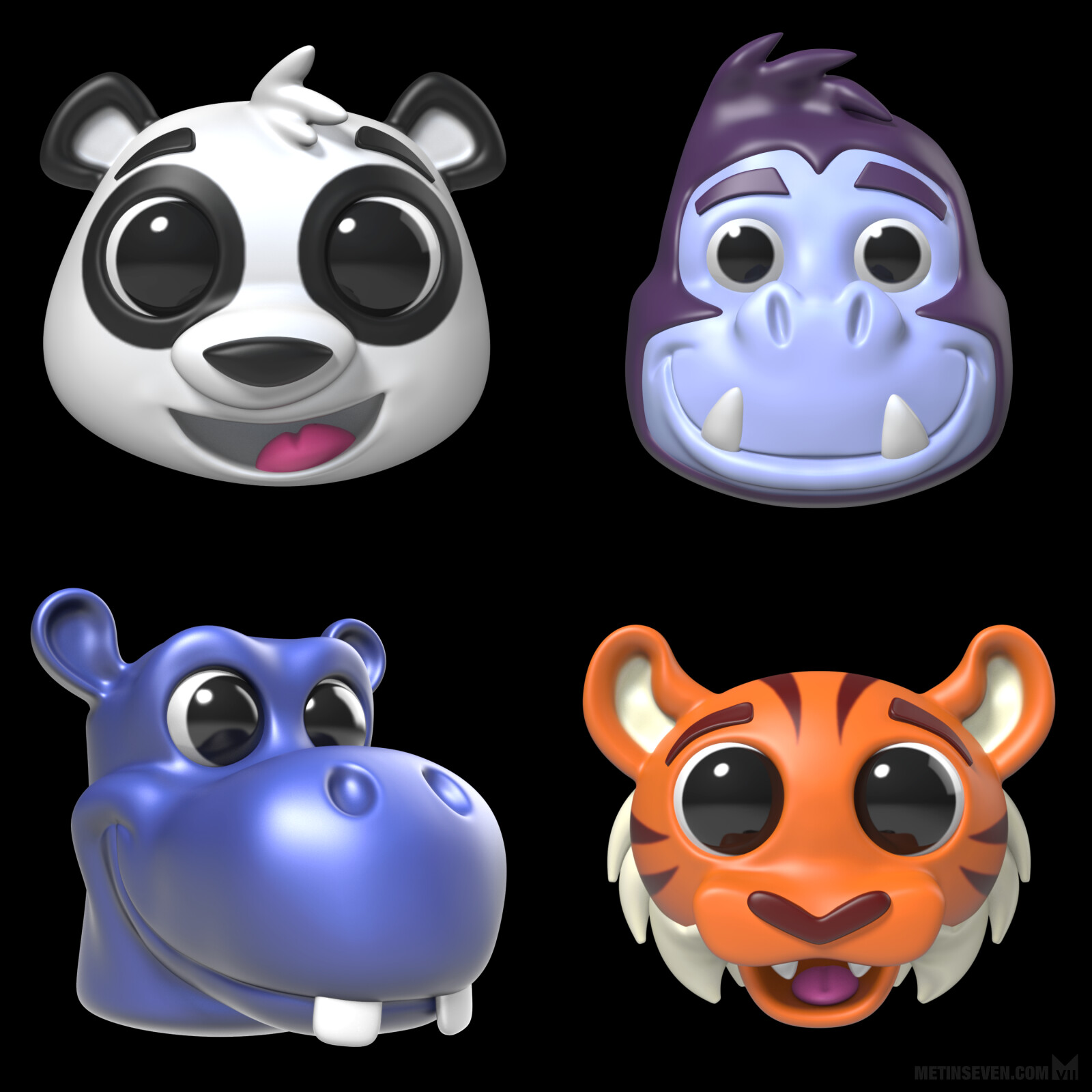 3D toy animal heads for a promotional kids collectibles campaign