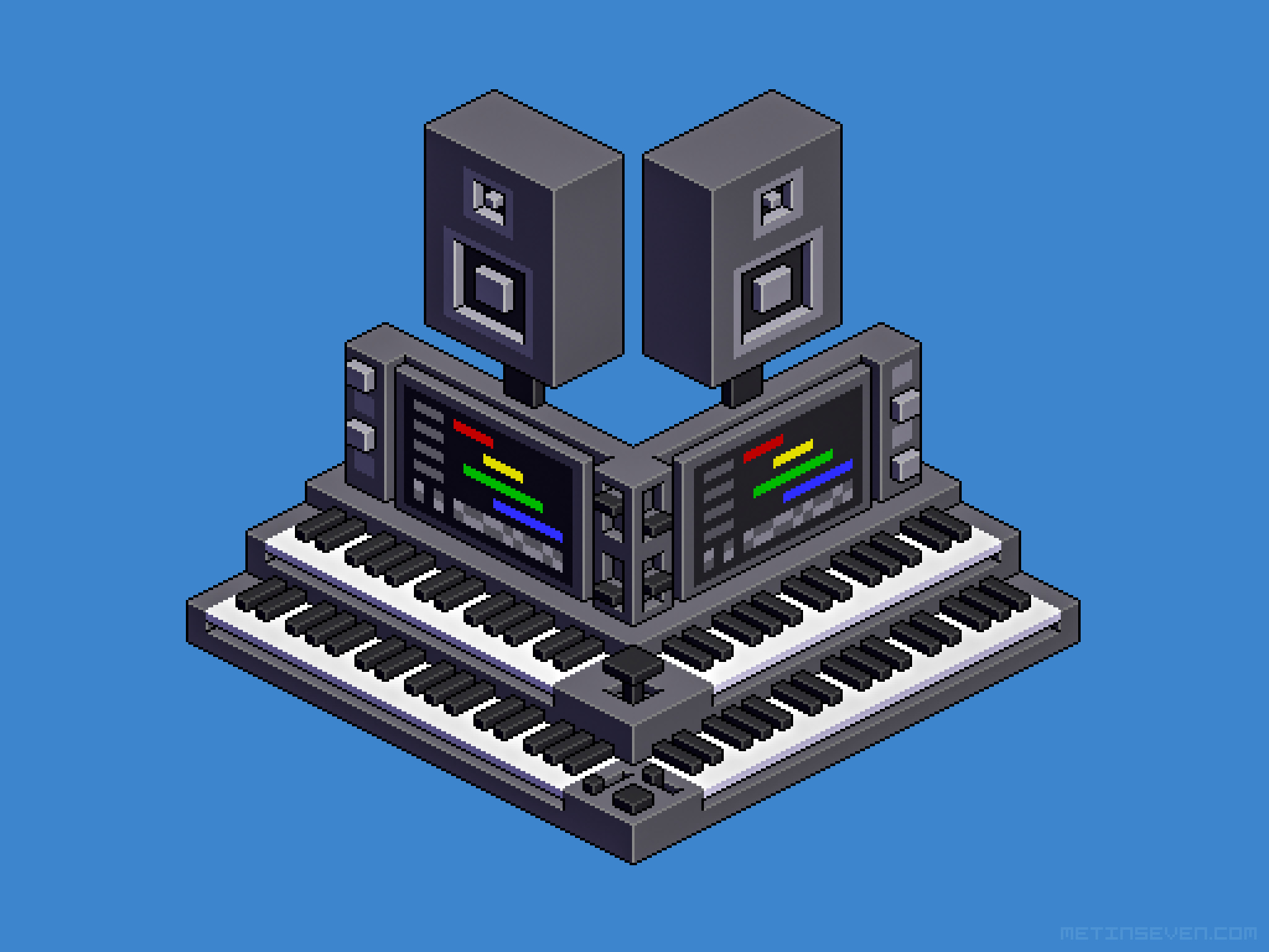 Isometric pixel art of an imaginary electronic music rig