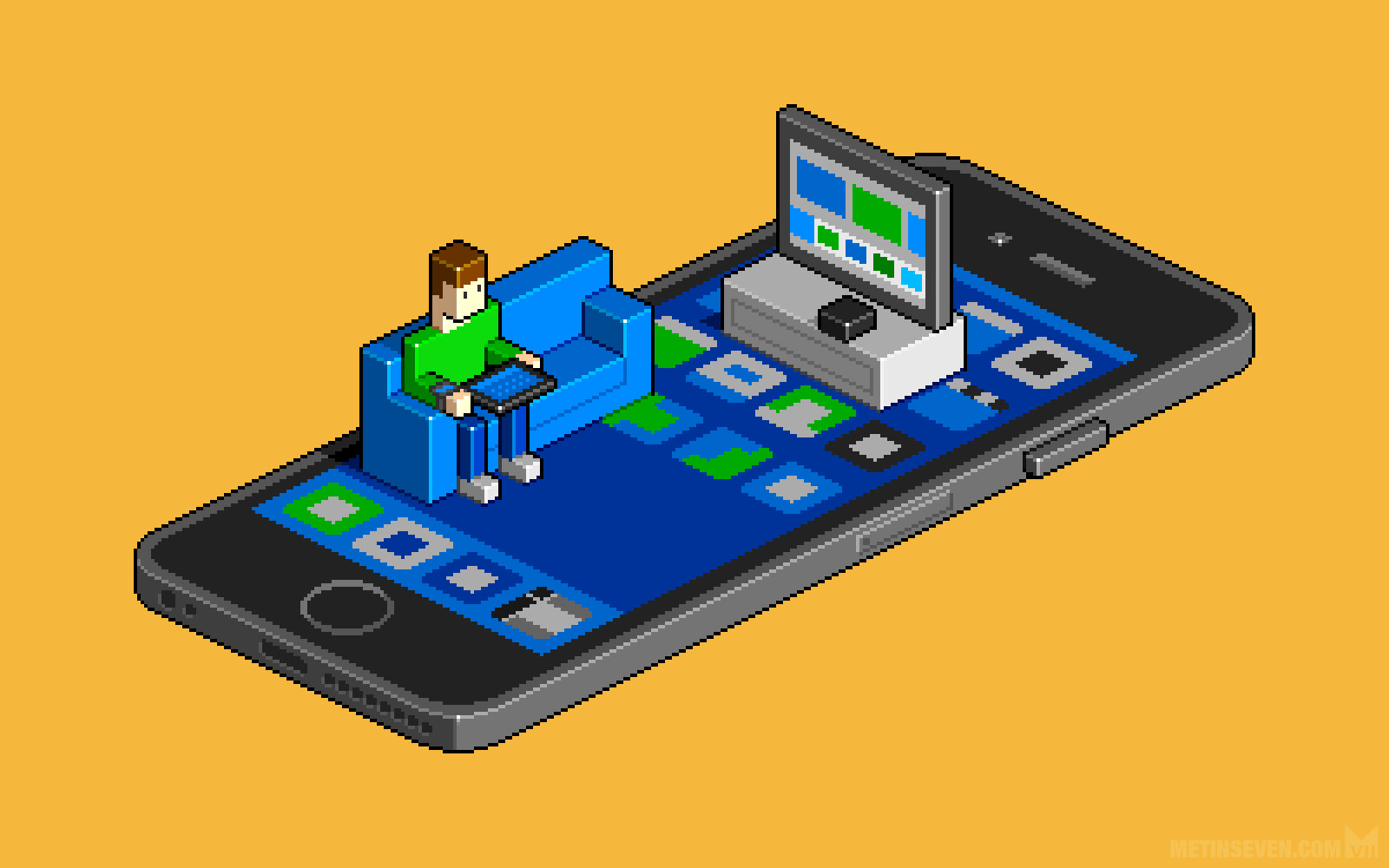 Isometric pixel illustration for the iCulture online Apple magazine