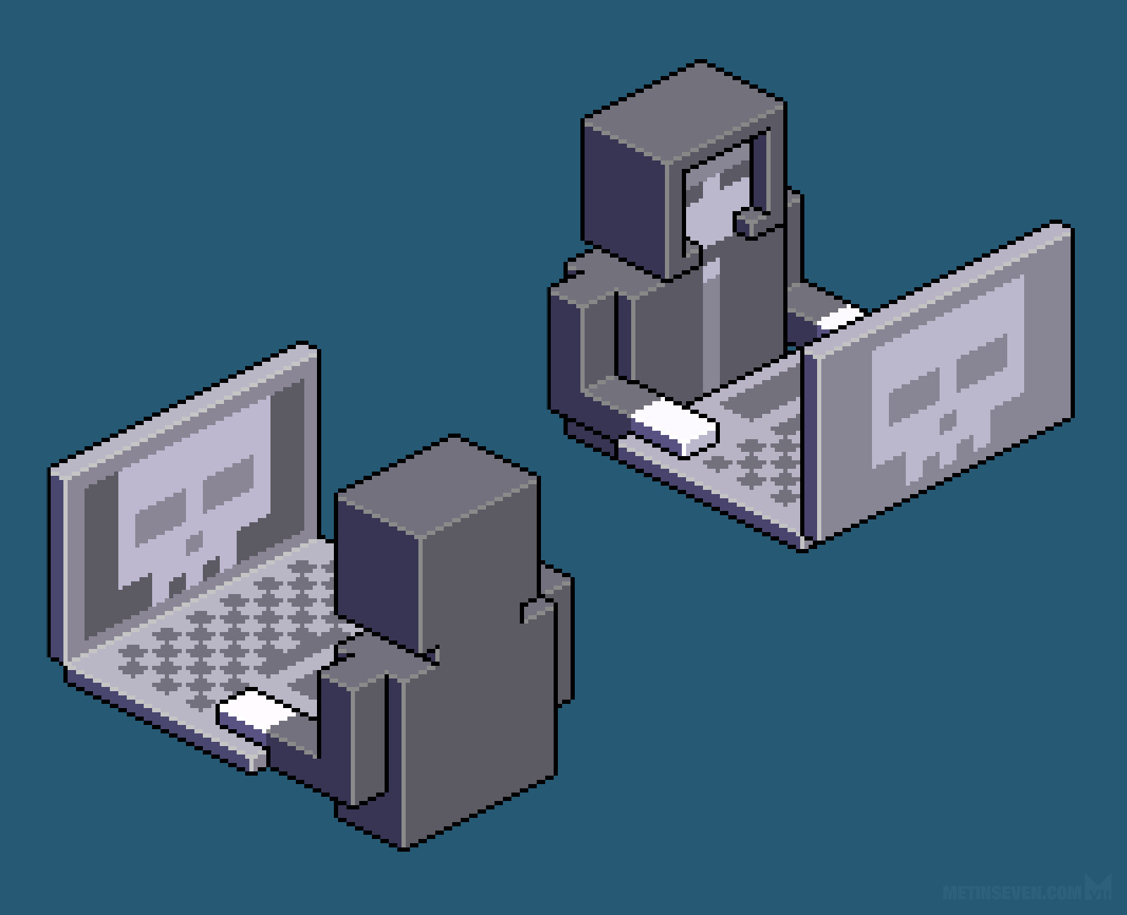 Isometric pixel character design of a Black Hat hacker, for an EclecticIQ sticker series