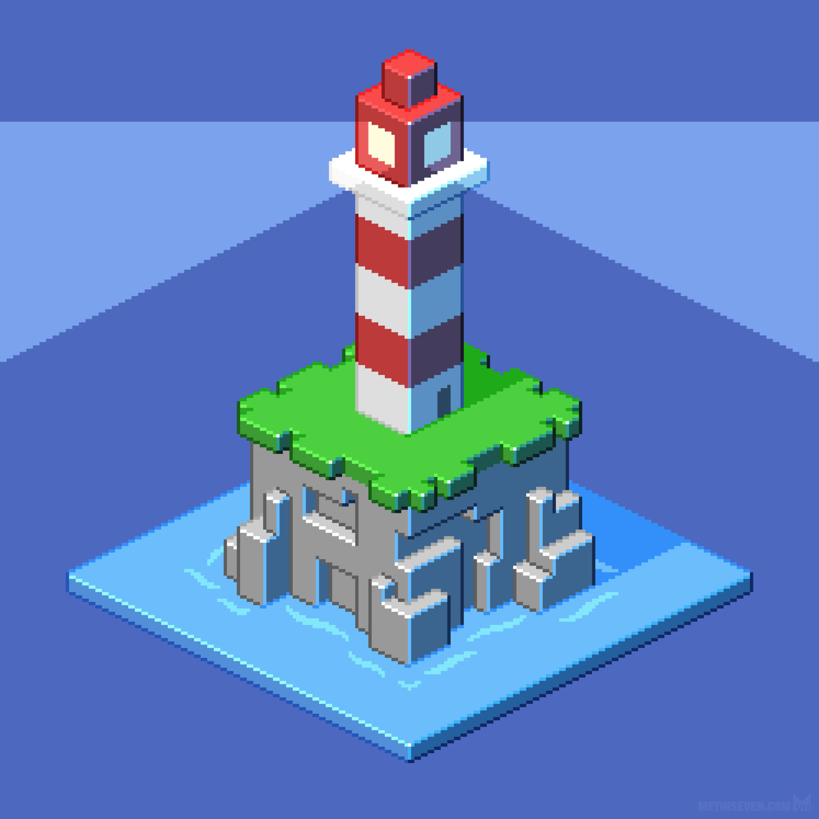 Isometric pixel lighthouse