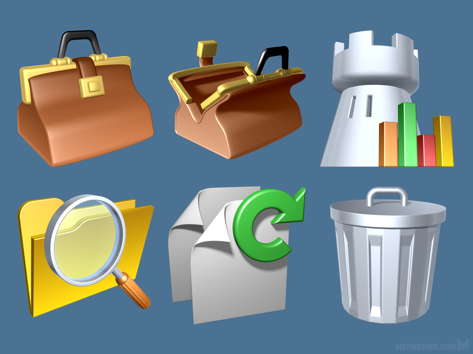 Selection of more than 200 3D icon designs for the OnGuard credit management software