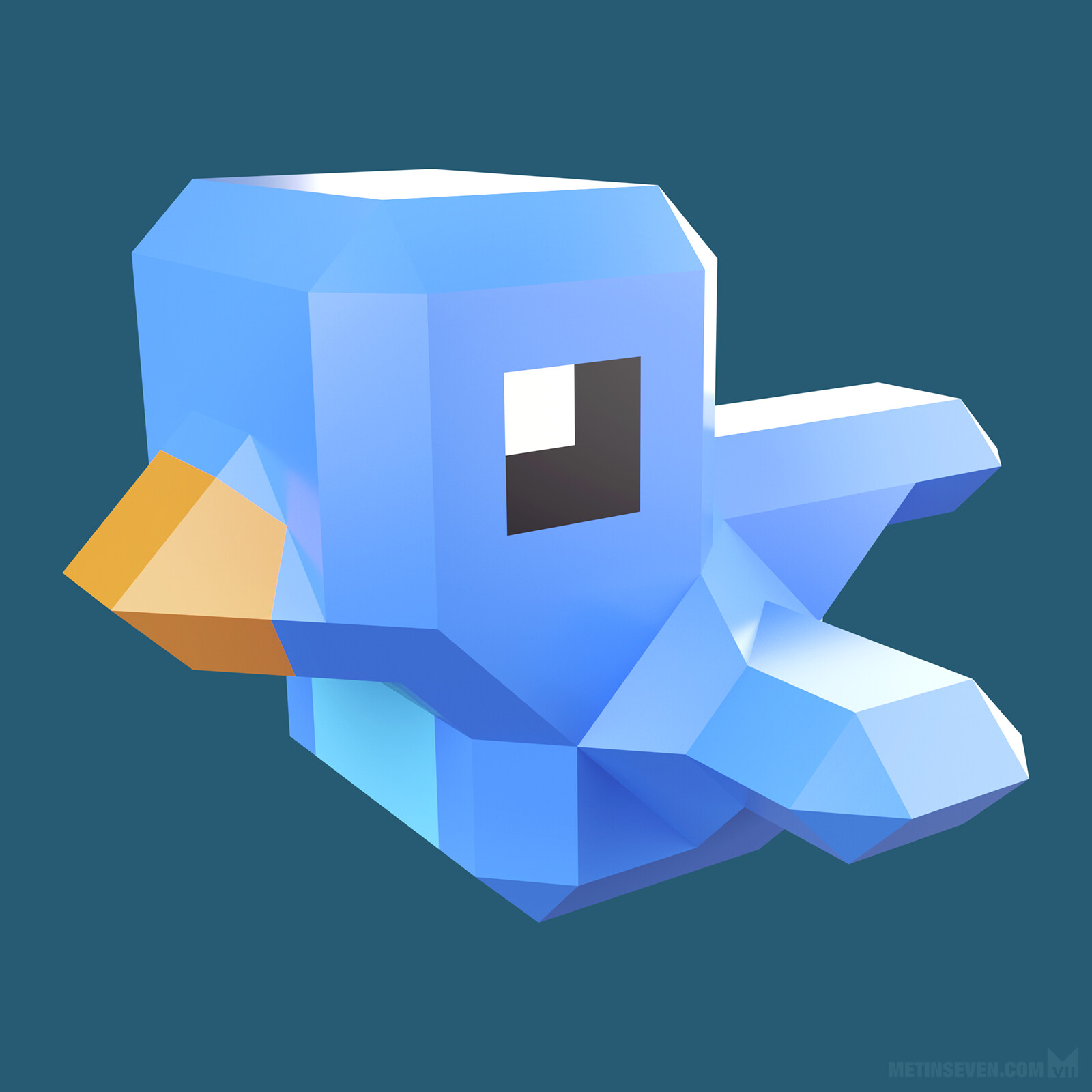 Low-polygon style Twitter bird design for an app icon