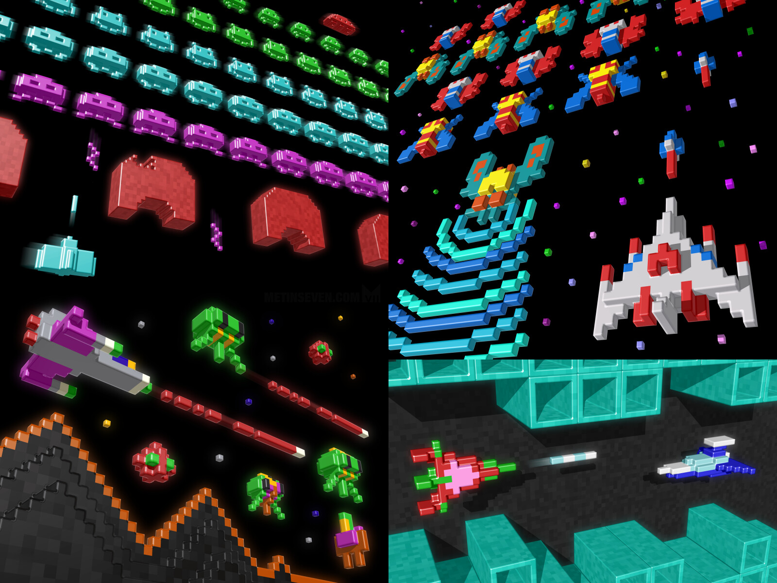 Voxel tributes to classic 8-bit games