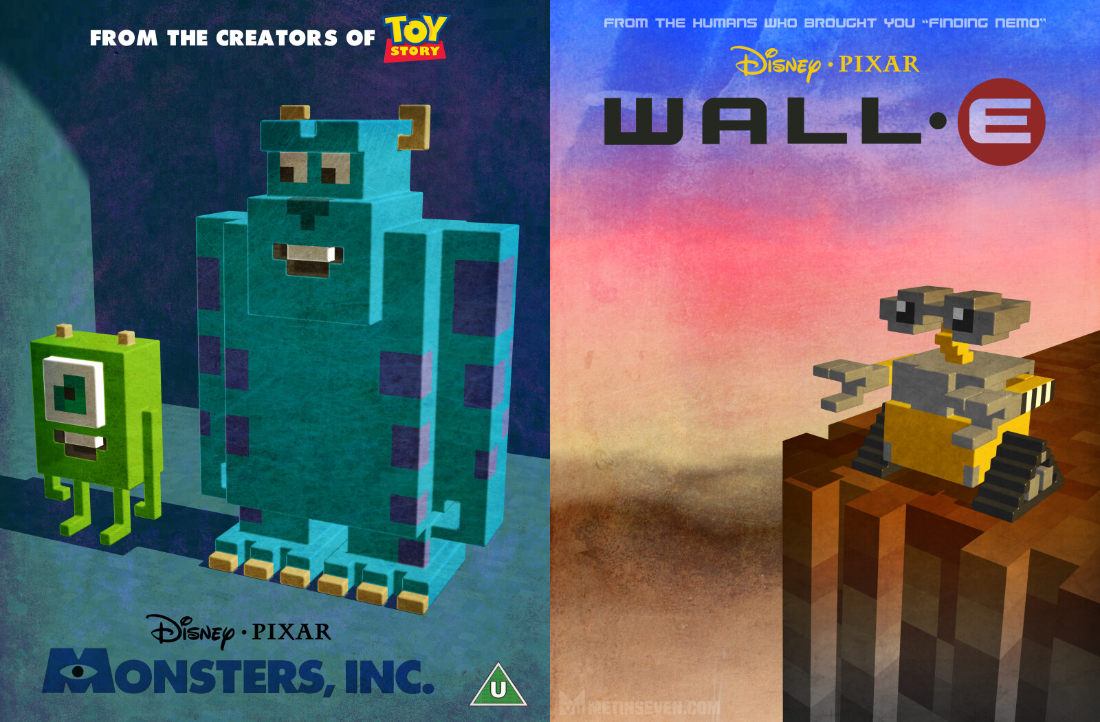 Minimalistic voxel tributes to Pixar's Monsters, Inc. and Wall-E