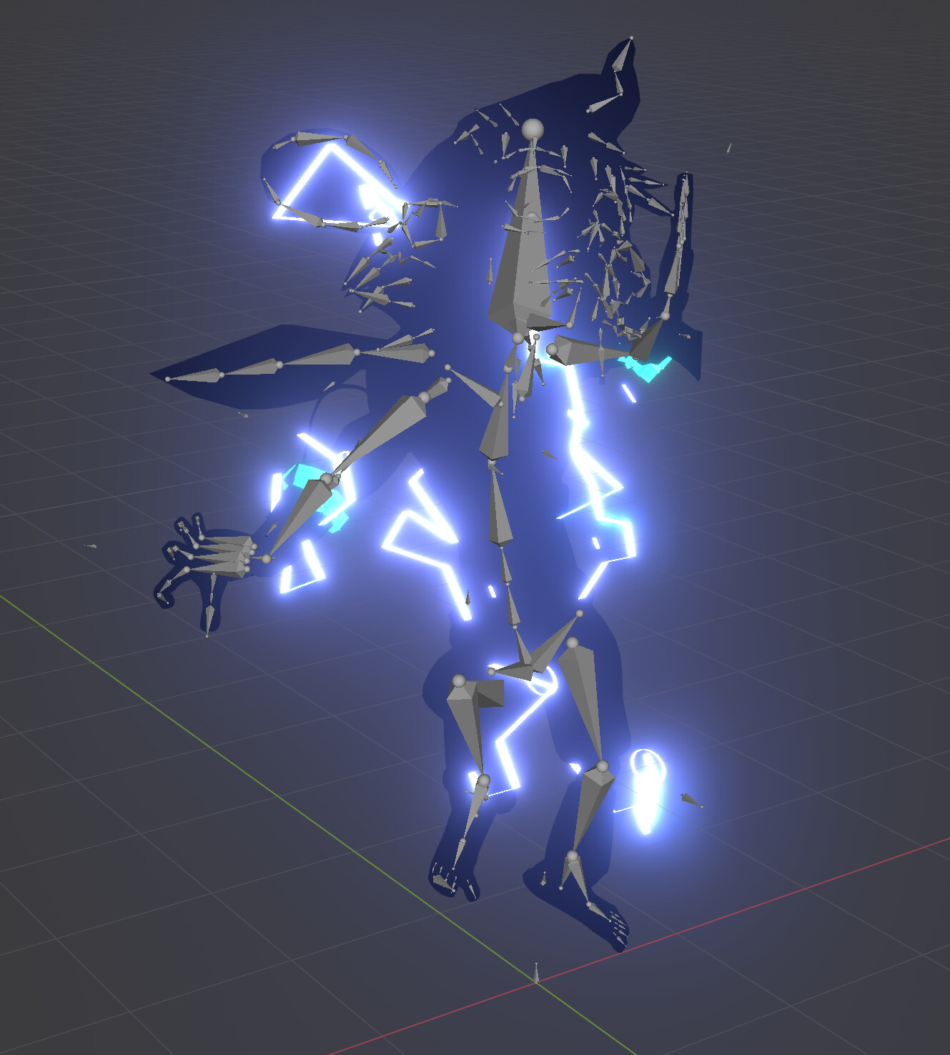 Had to screencap this because Blender never renders armatures... Basically, the idea is when a cyber being gets electrocuted, they show their 3D model rig instead of a traditional skeleton