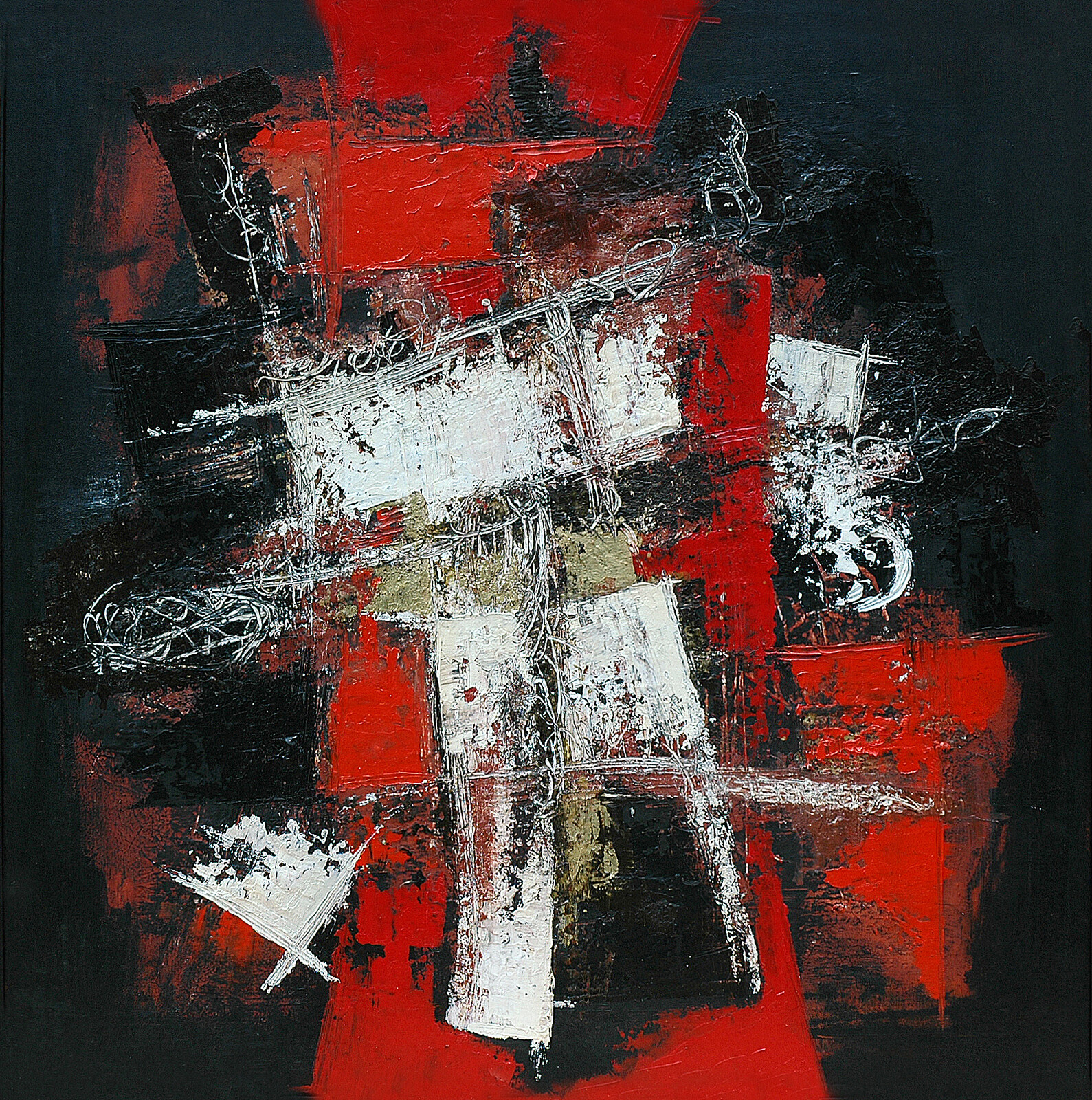 Mut-azione 90 x 90 acrylic oil and plaster on canvas