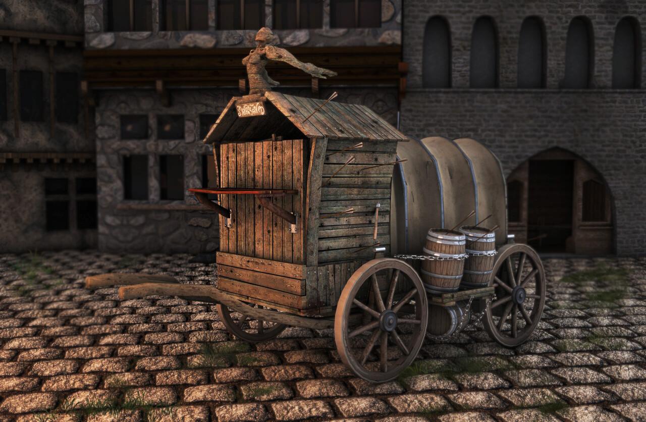 charette chariot 3D c4D Wood