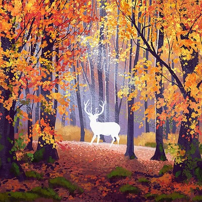 Madeleine bellwoar forest with stag paint as
