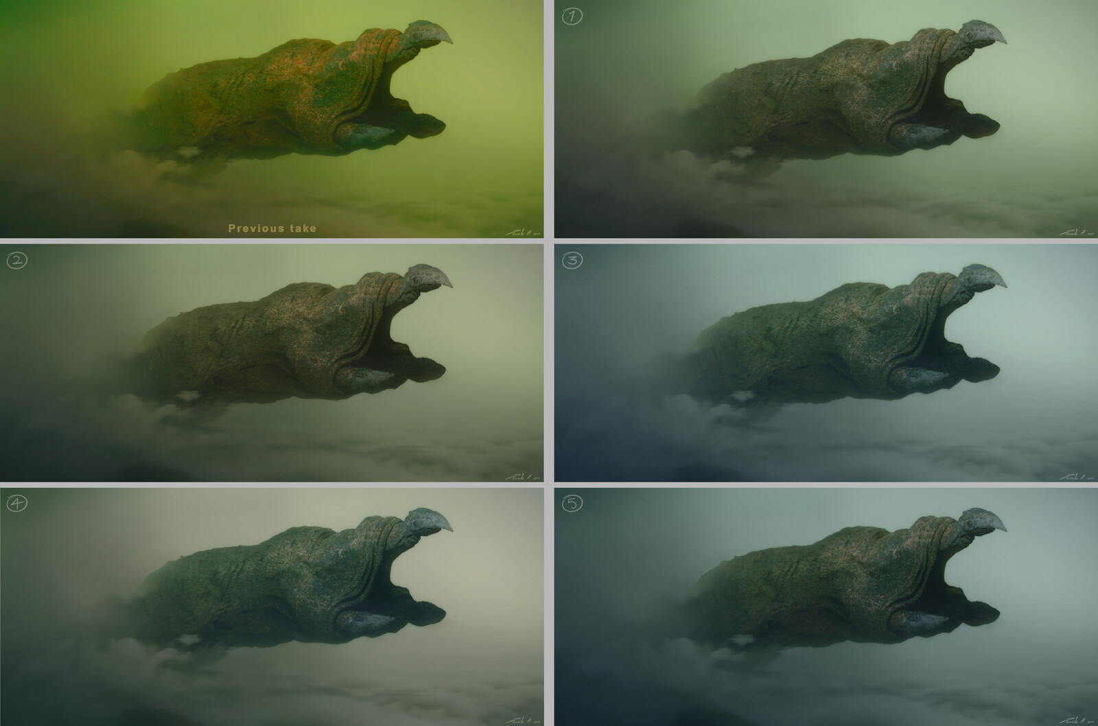 Color and saturation variations for the fog world. The monster's color and textures had to be dialed depending on the color scheme of the environment.