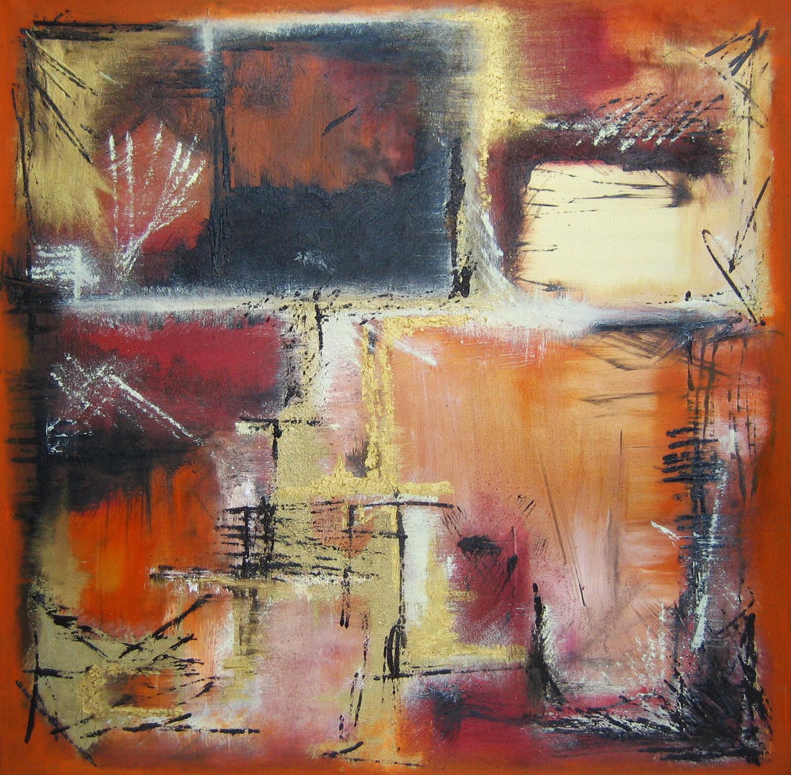 Entropia III 90 x90 oil acrylic marble powder on canvas