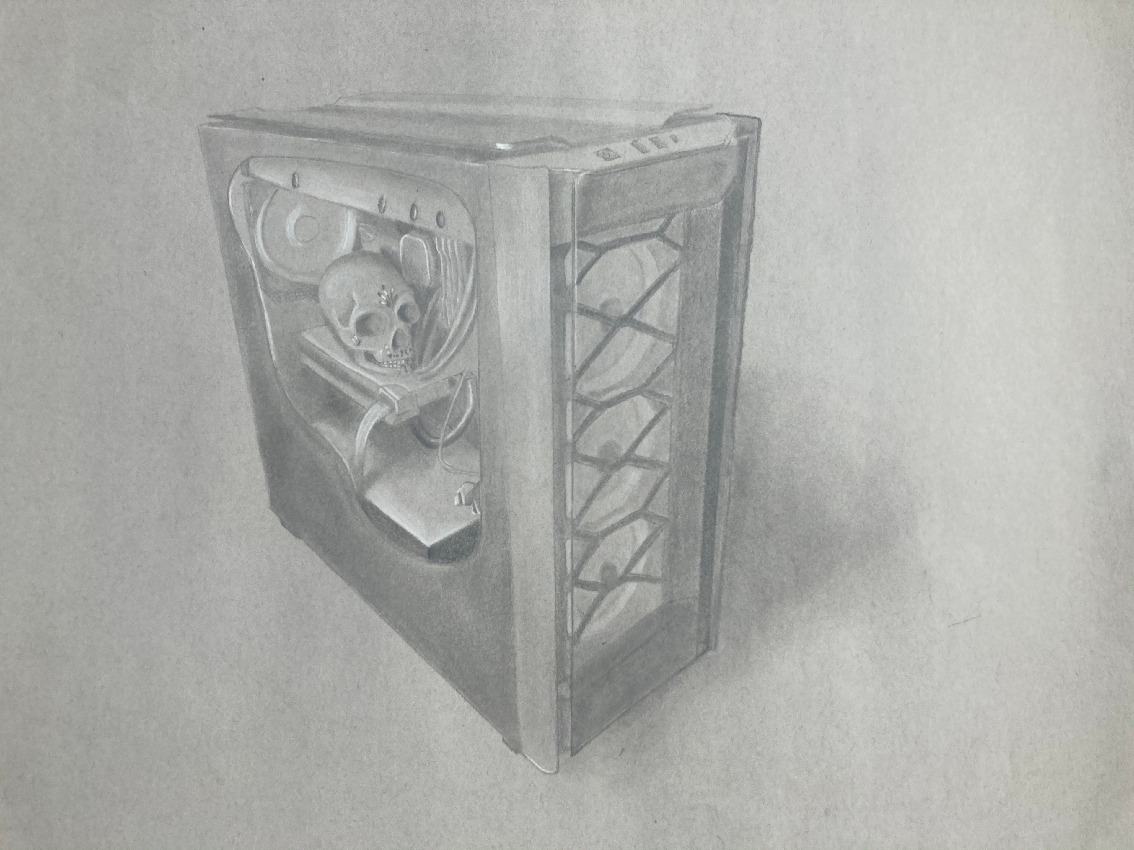 My PC with a cutout and a skull placed on the graphics card.