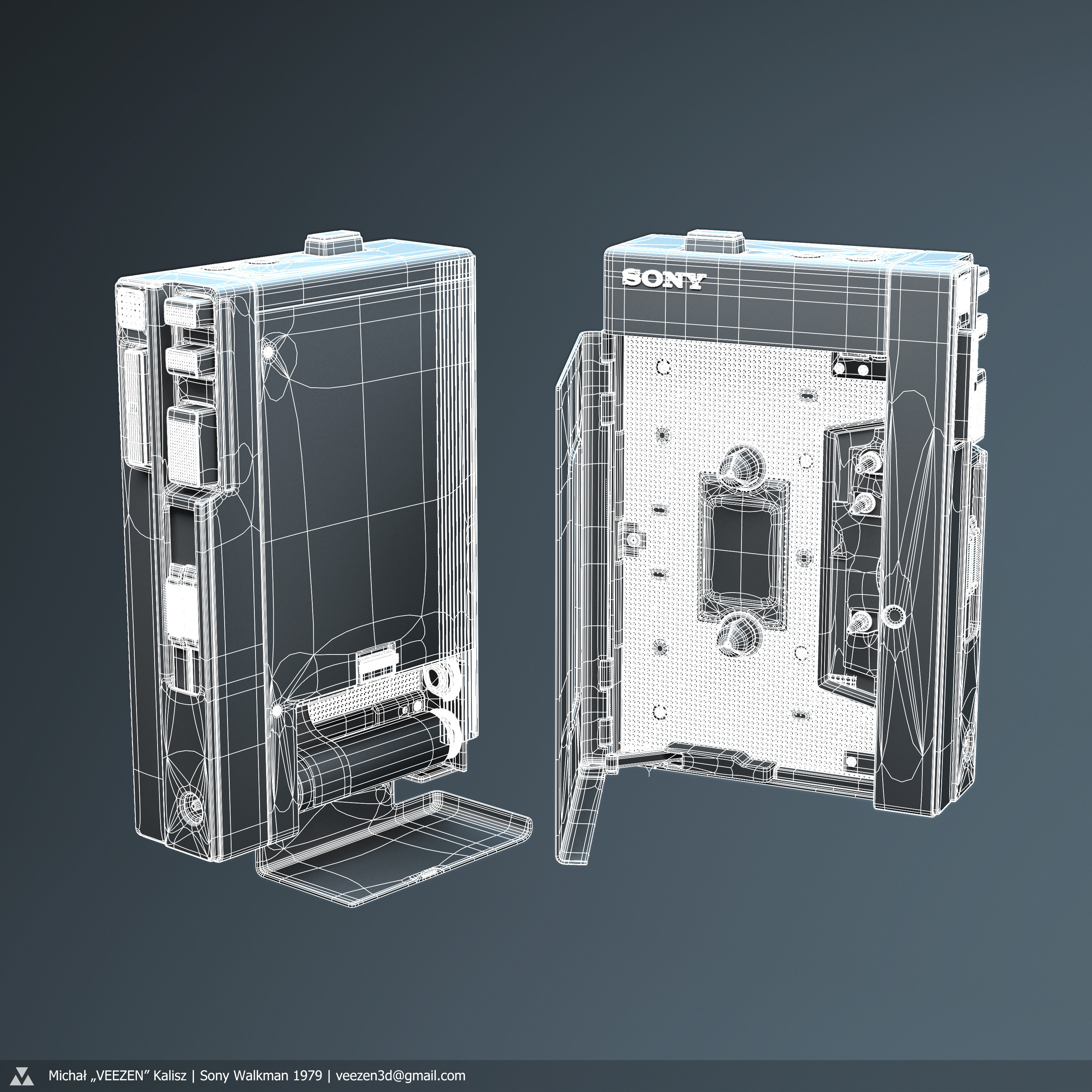 High poly wireframe