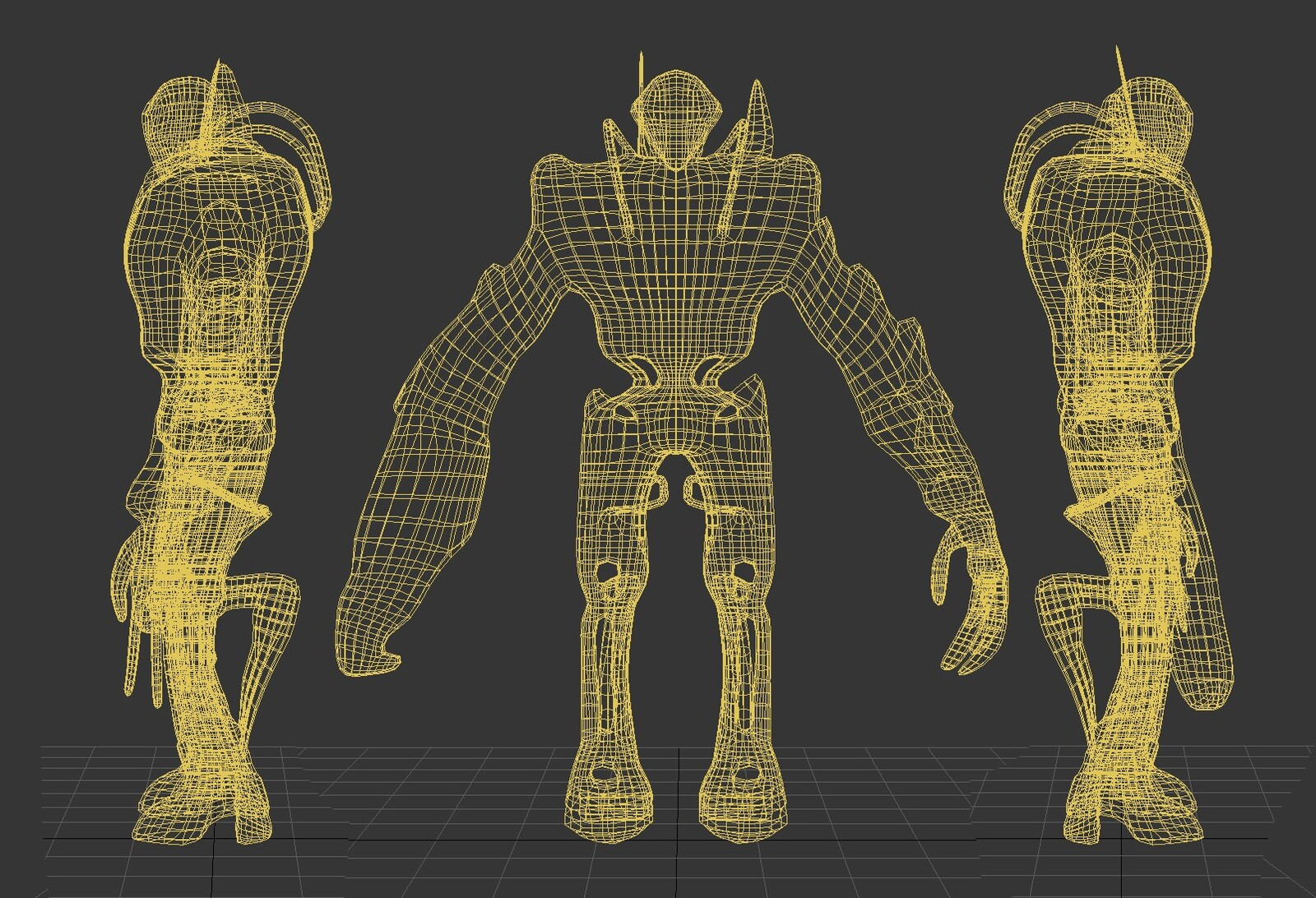 3DS Max Polygon Model Wireframe View Before Sculpting