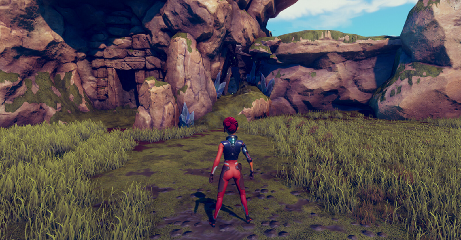 Environmental Navigation: Pathway to lead the player to the framed hidden maze entrance.