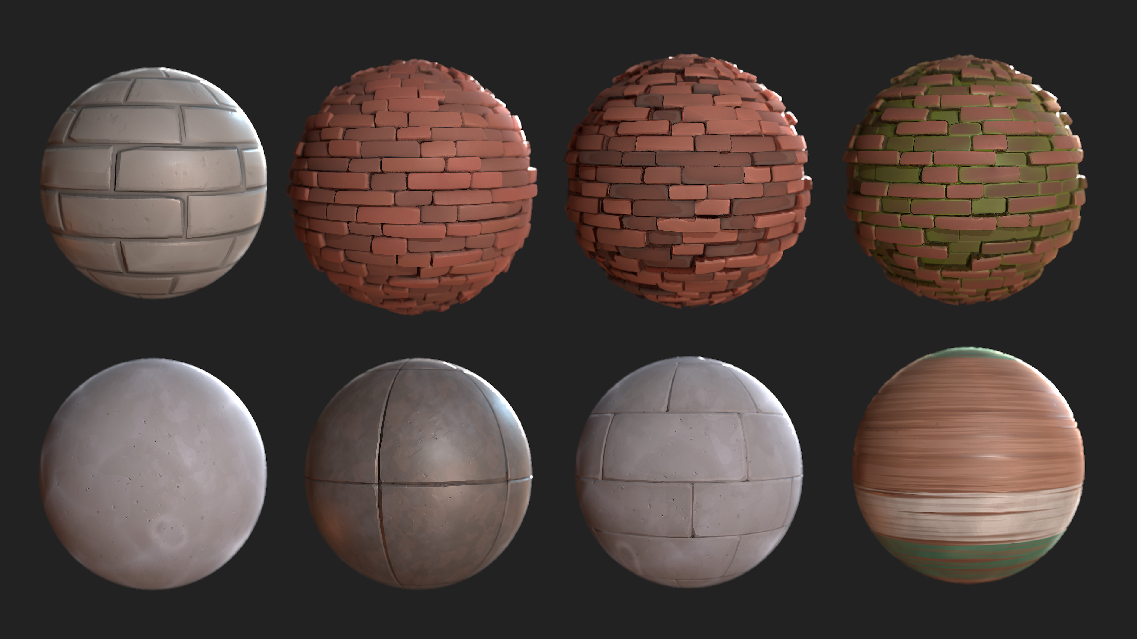 Some of the materials used. Some made in Substance Designer, some in zBrush.