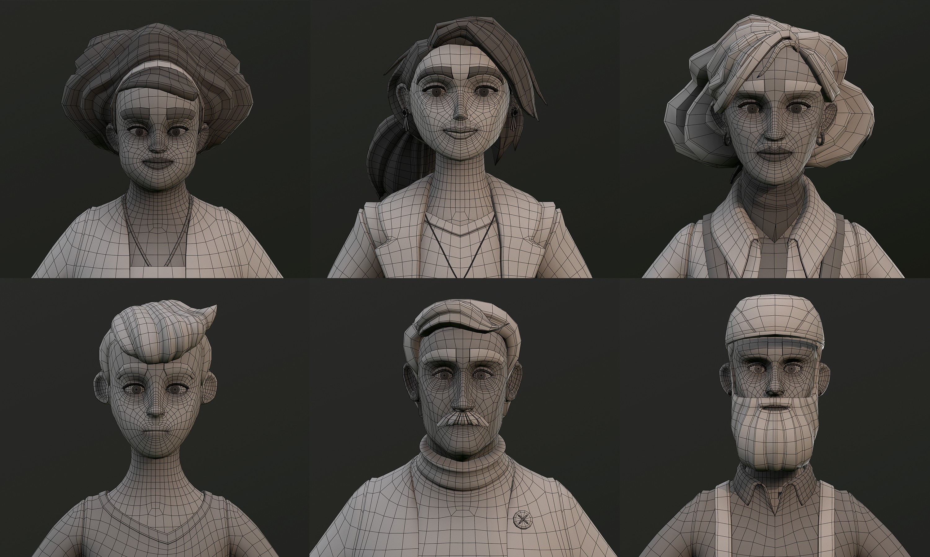 Wireframe of character heads.