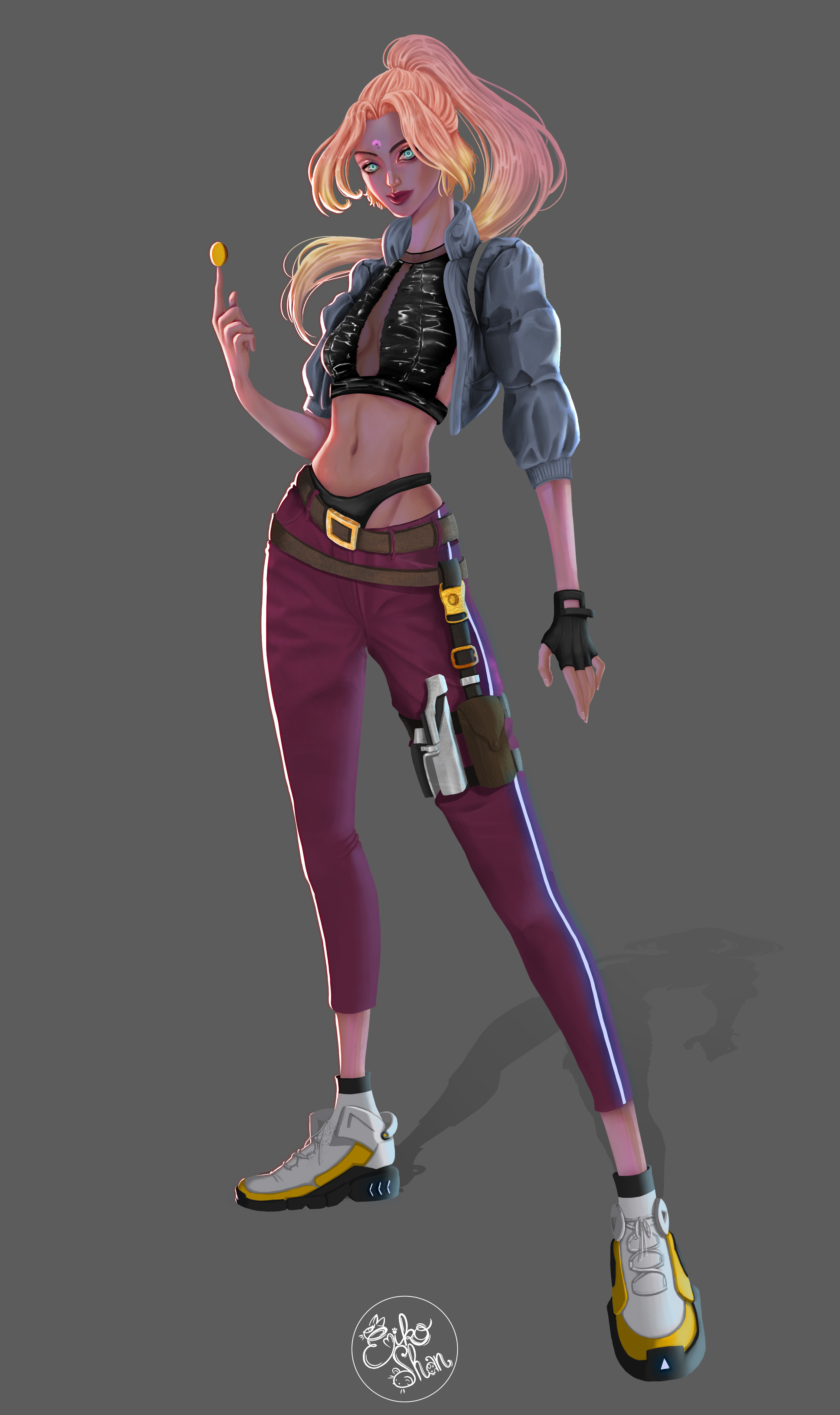 Androide in Cyberpunk style. This Character design will be use for a manga.