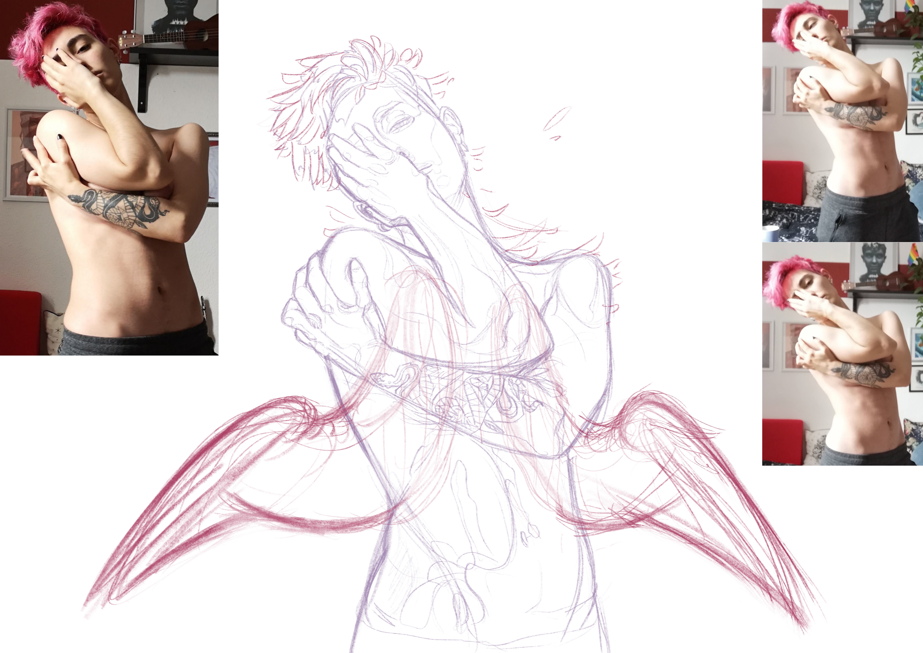 Sketch and reference images used for the final piece.