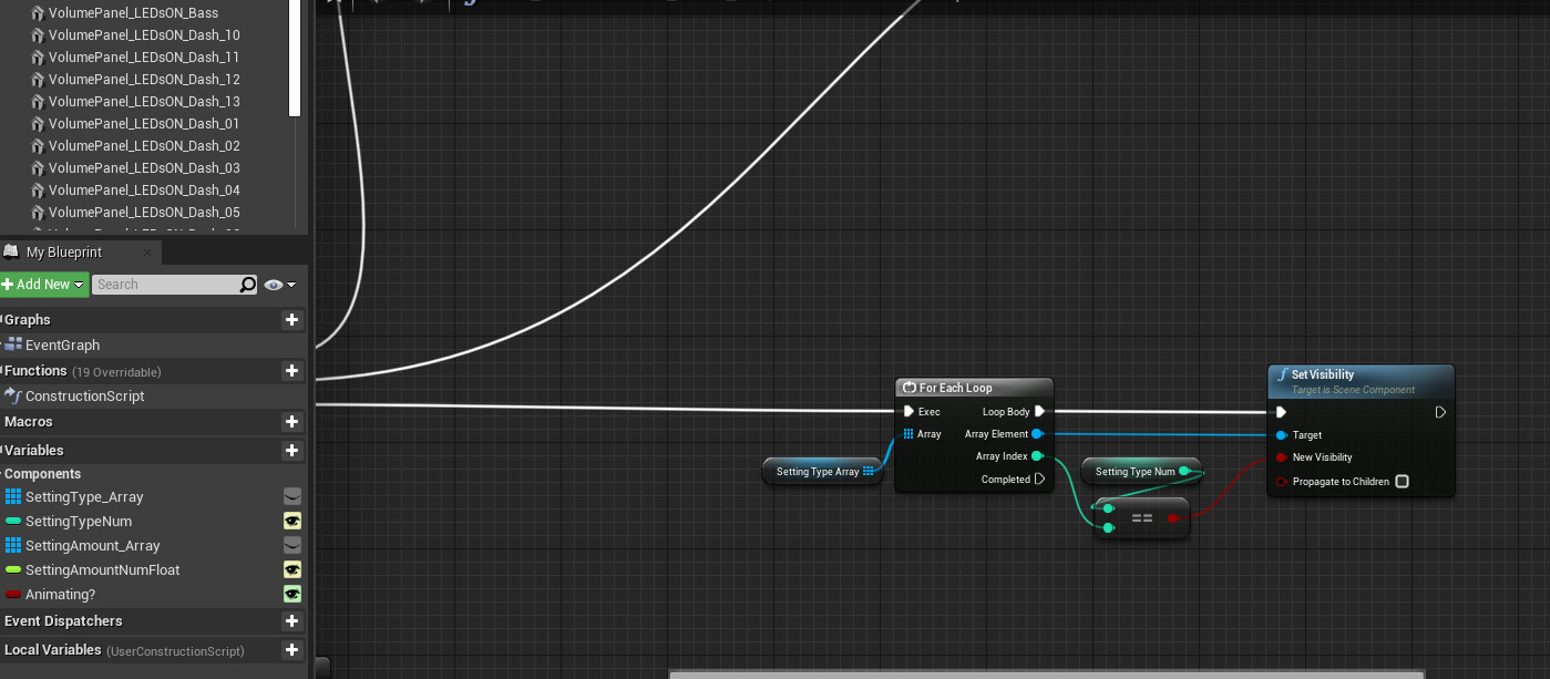 Setting Type Toggle - Using a for each loop I am able to select Volume, Treble, Bass, or Reverb adjustments.
