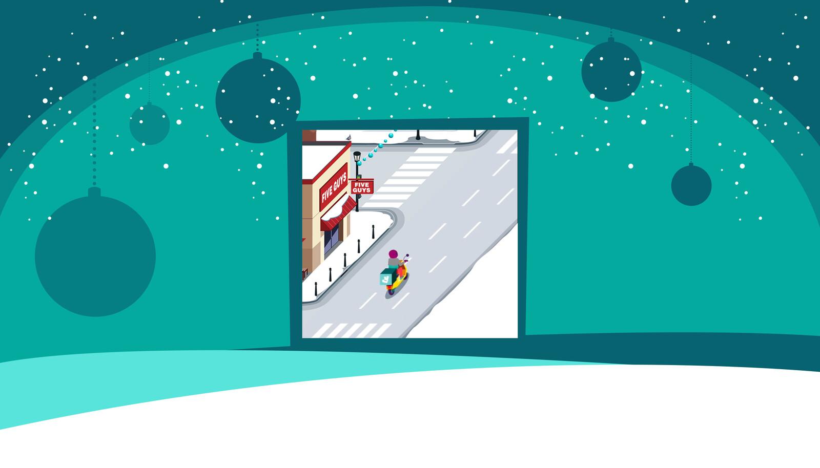 """Réalisation de background pour la version desktop du jeu, en version """"hiver"""""""
