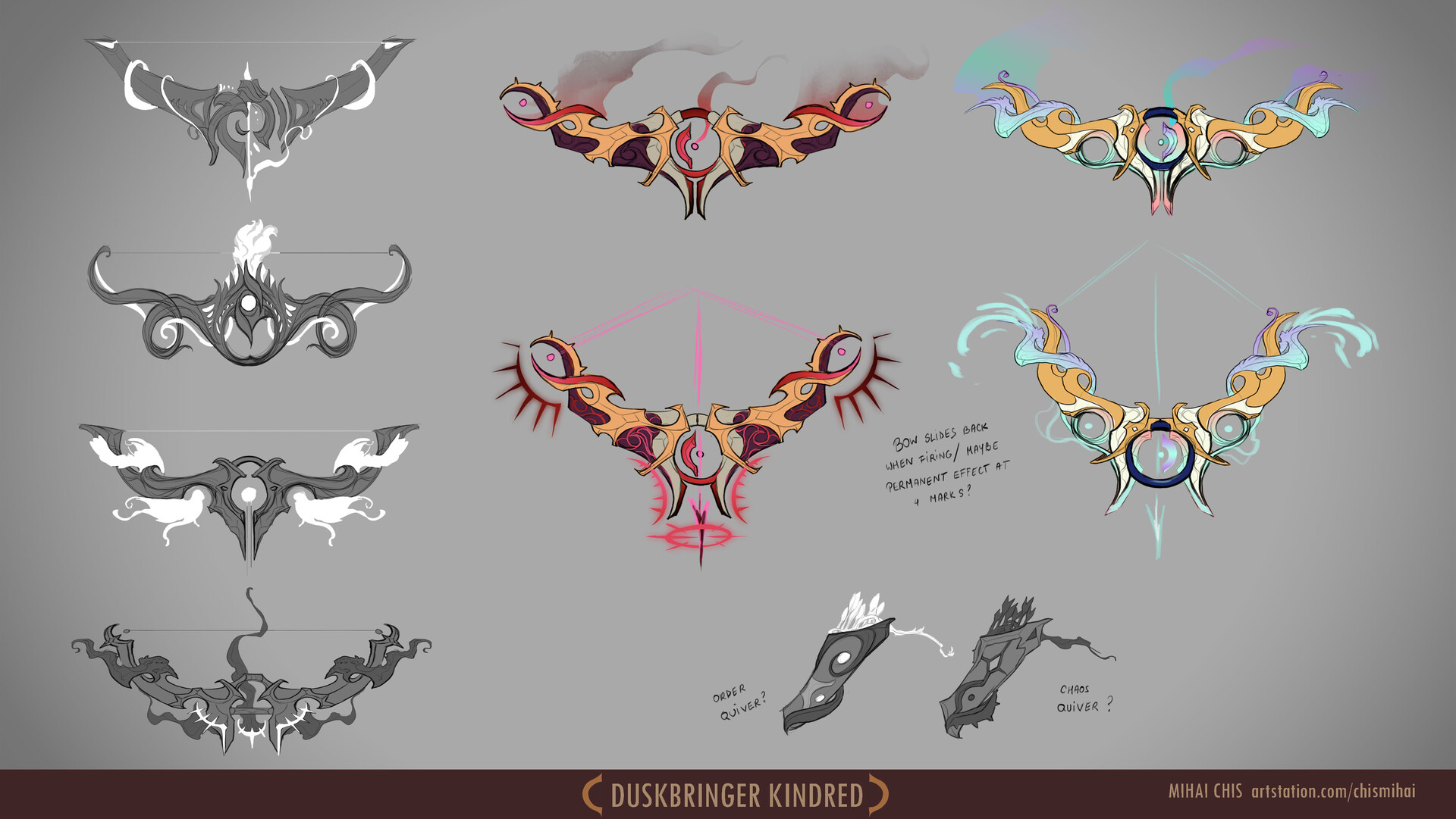 Different bow designs for chaos and order lamb.