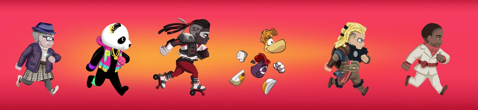 Création des personnages principaux d'après références fournies par Ubisoft