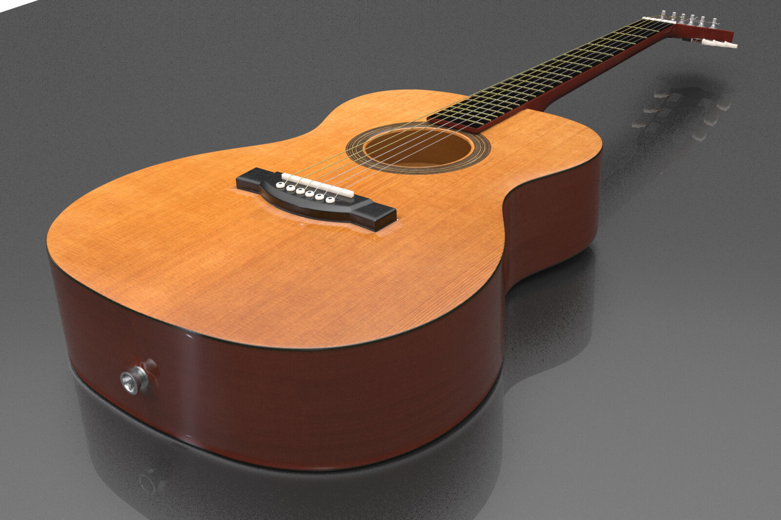 Acoustic Dreadnought modeled in Modo - this is an in-modo render. I converted this model to a native ArchiCAD object, with appropriate vectorial cleanups and the ability for the materials to be easily tweaked in use.