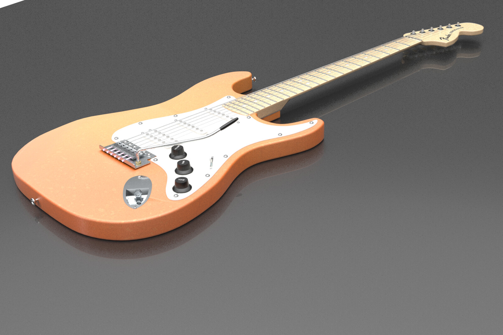 Fender Strat modeled in Modo - this is an in-modo render. I converted this model to a native ArchiCAD object, with appropriate vectorial cleanups and the ability for the materials to be easily tweaked in use.