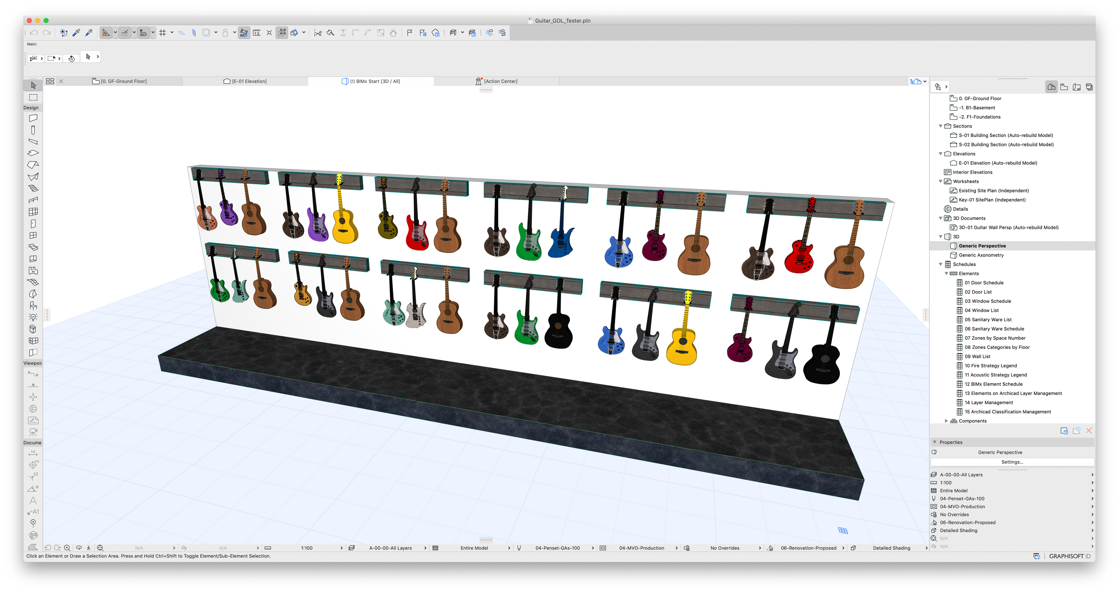 Here is the in ArchiCAD perspective view of a wall of these converted guitars hung.