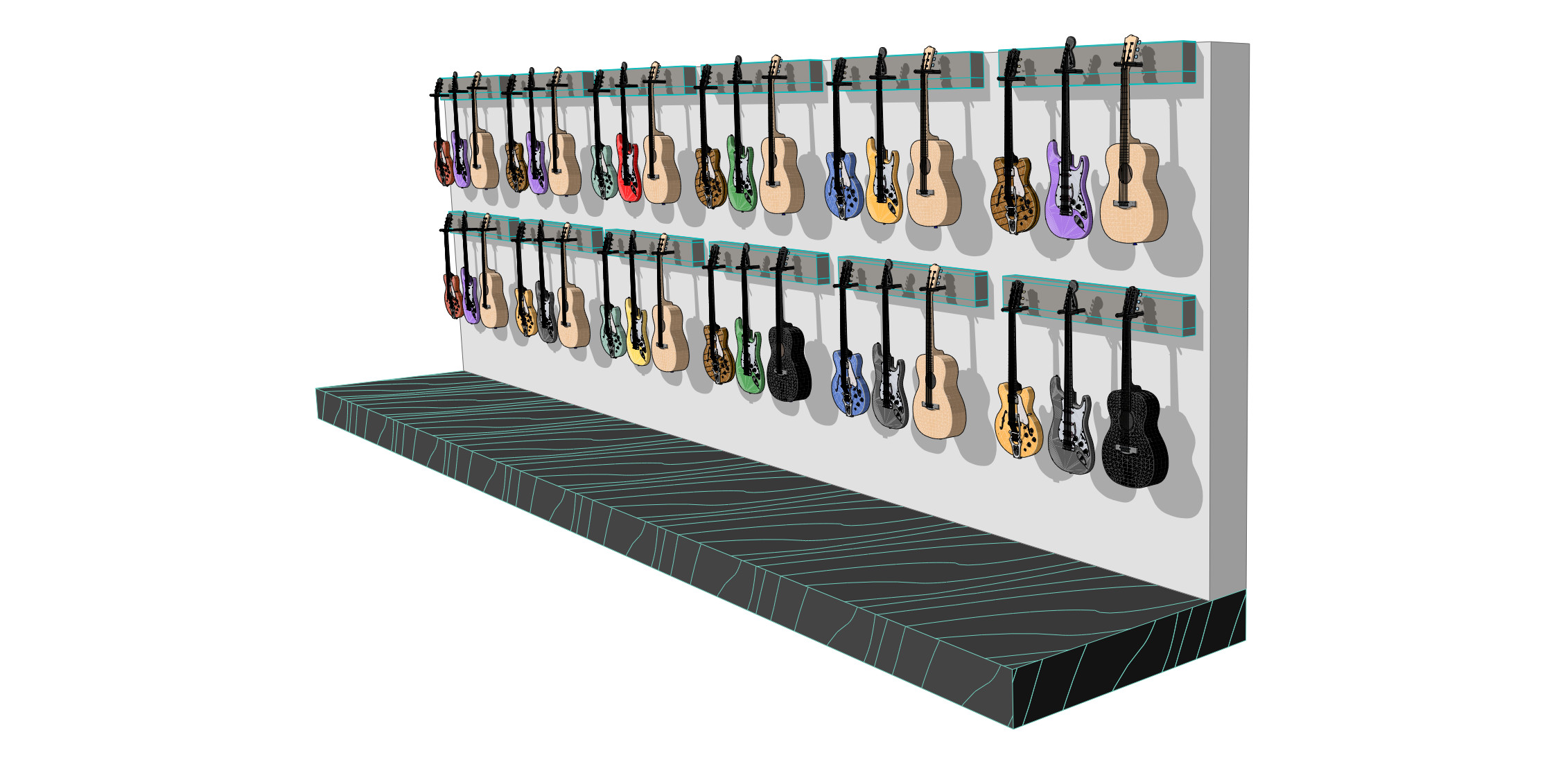 Here is a vectorial PDF exported perspective view of a wall of these converted guitars hung.