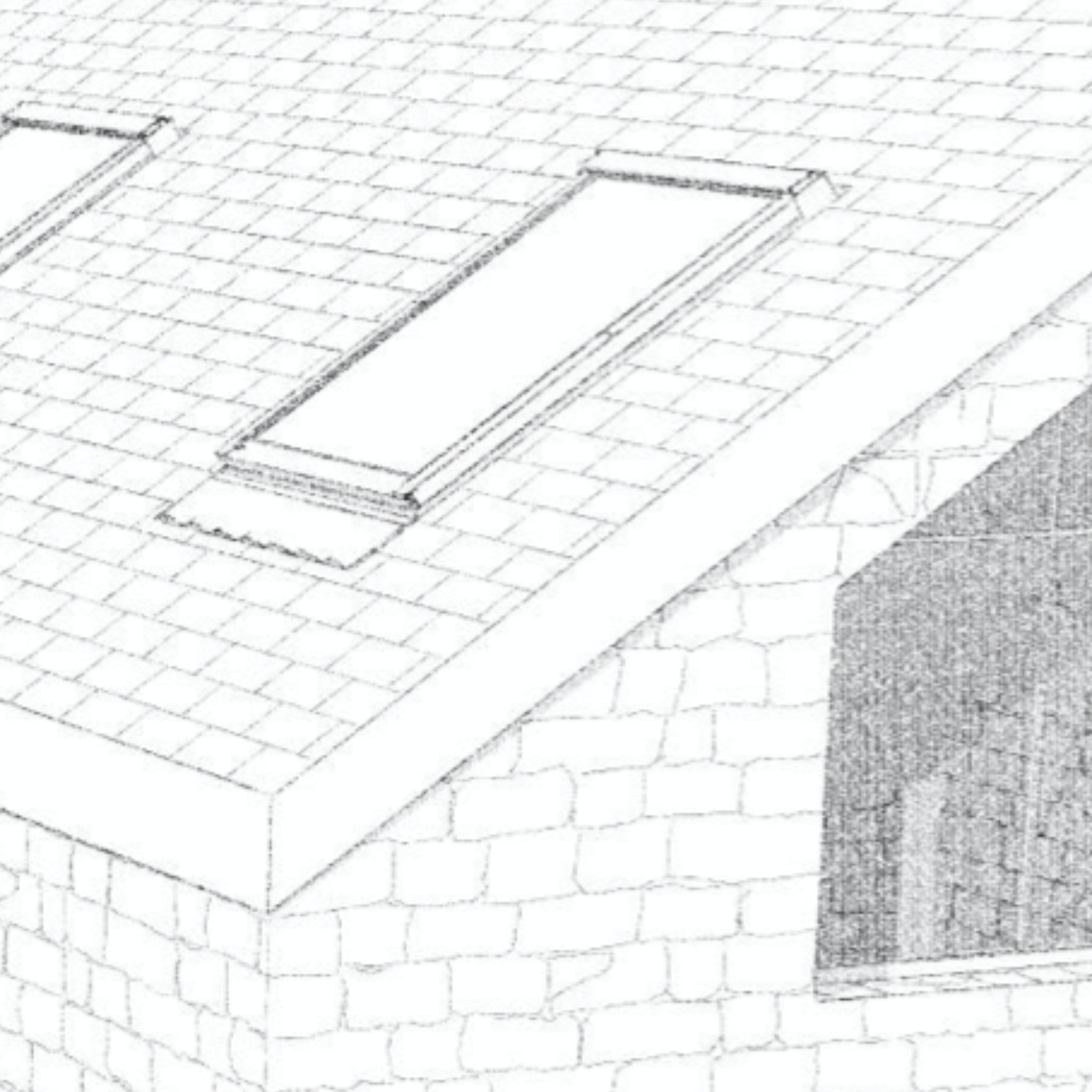 Newly developed JGA Guernsey granite material vectorial hatch (developed natively in ArchiCAD) drives display in elevation and section views - and also sketch rendered perspectives