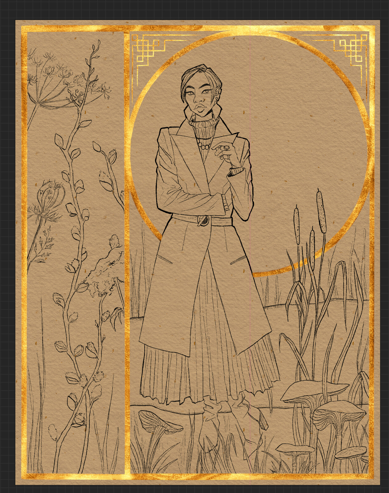 Finished lineart with the (digital) gold leafing placed down!