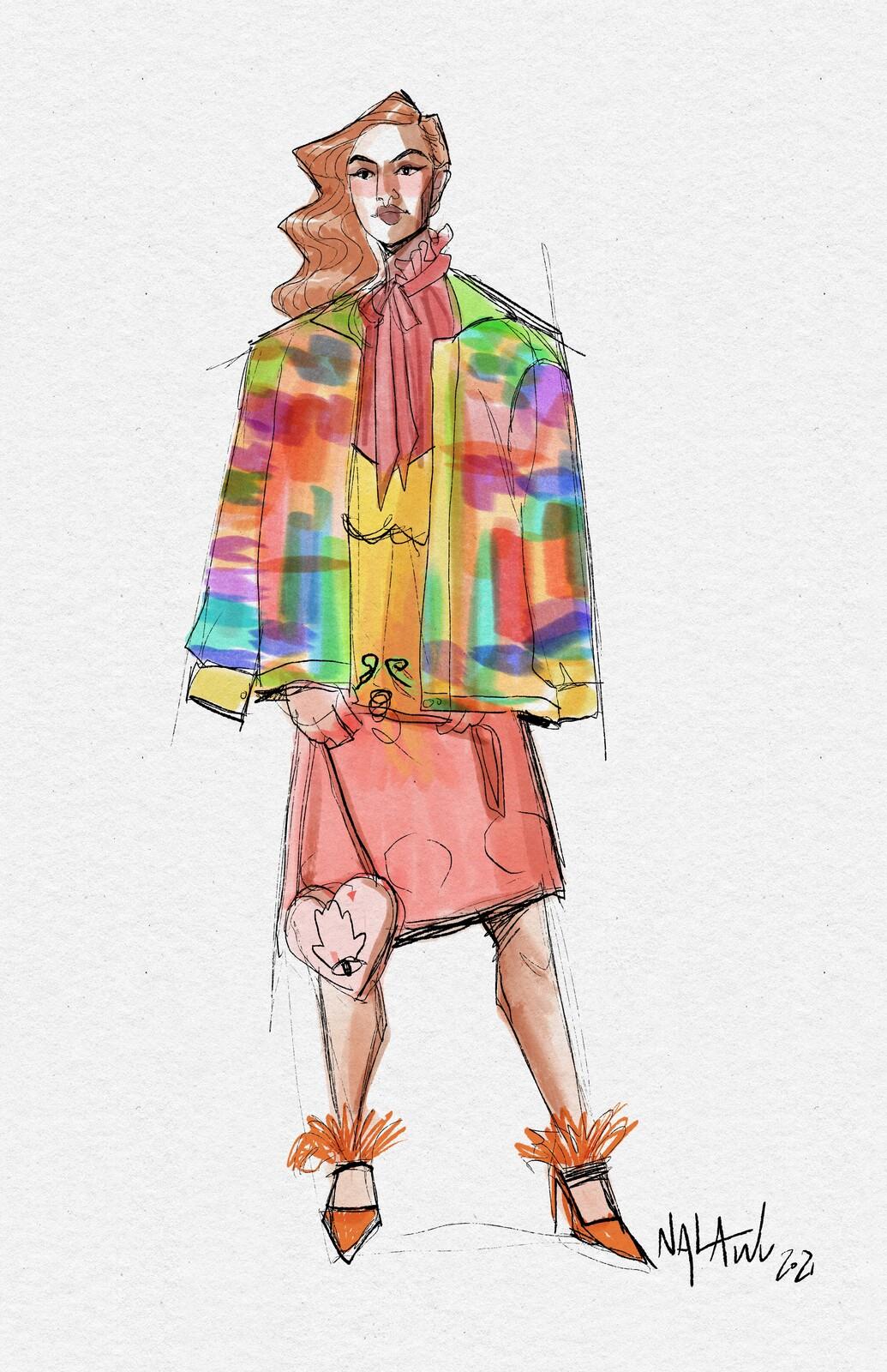 Fashion Sketch - Rainbow Jacket