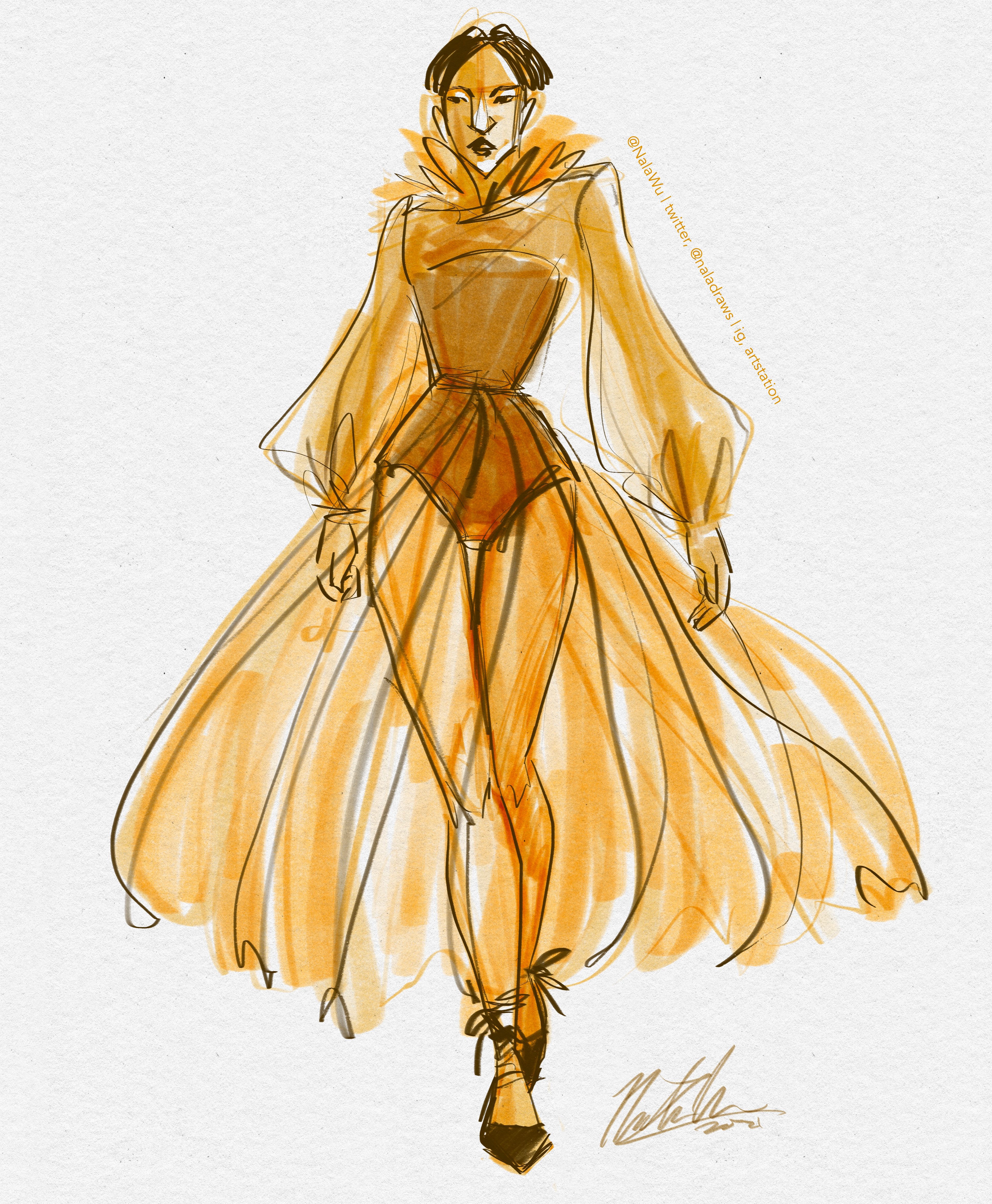 Yellow Dress Sketch (4 minutes)
