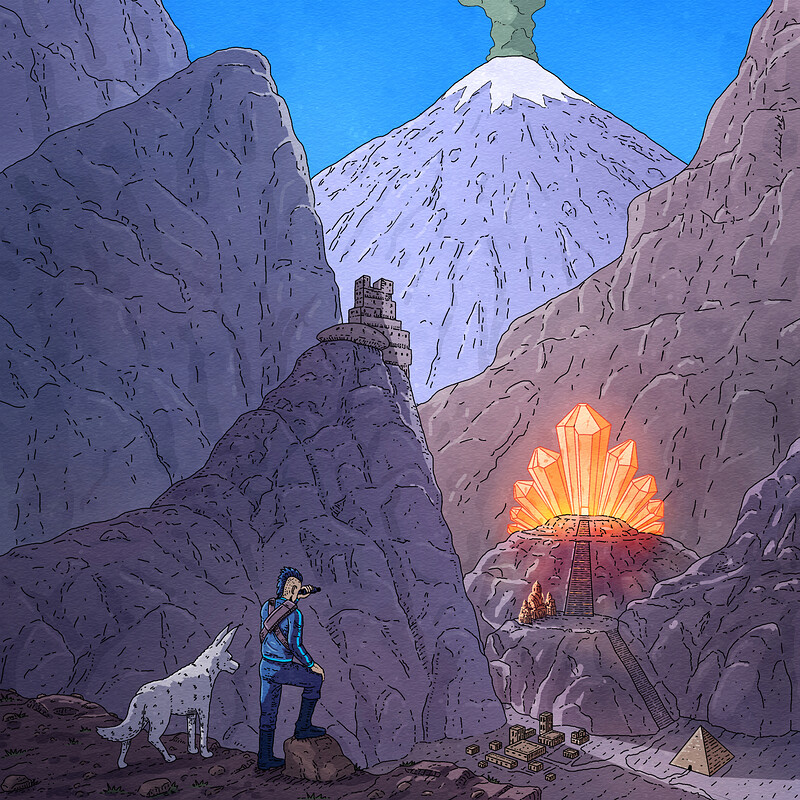 Graphic Novel Sci-fi Illustration, Crystal Temple