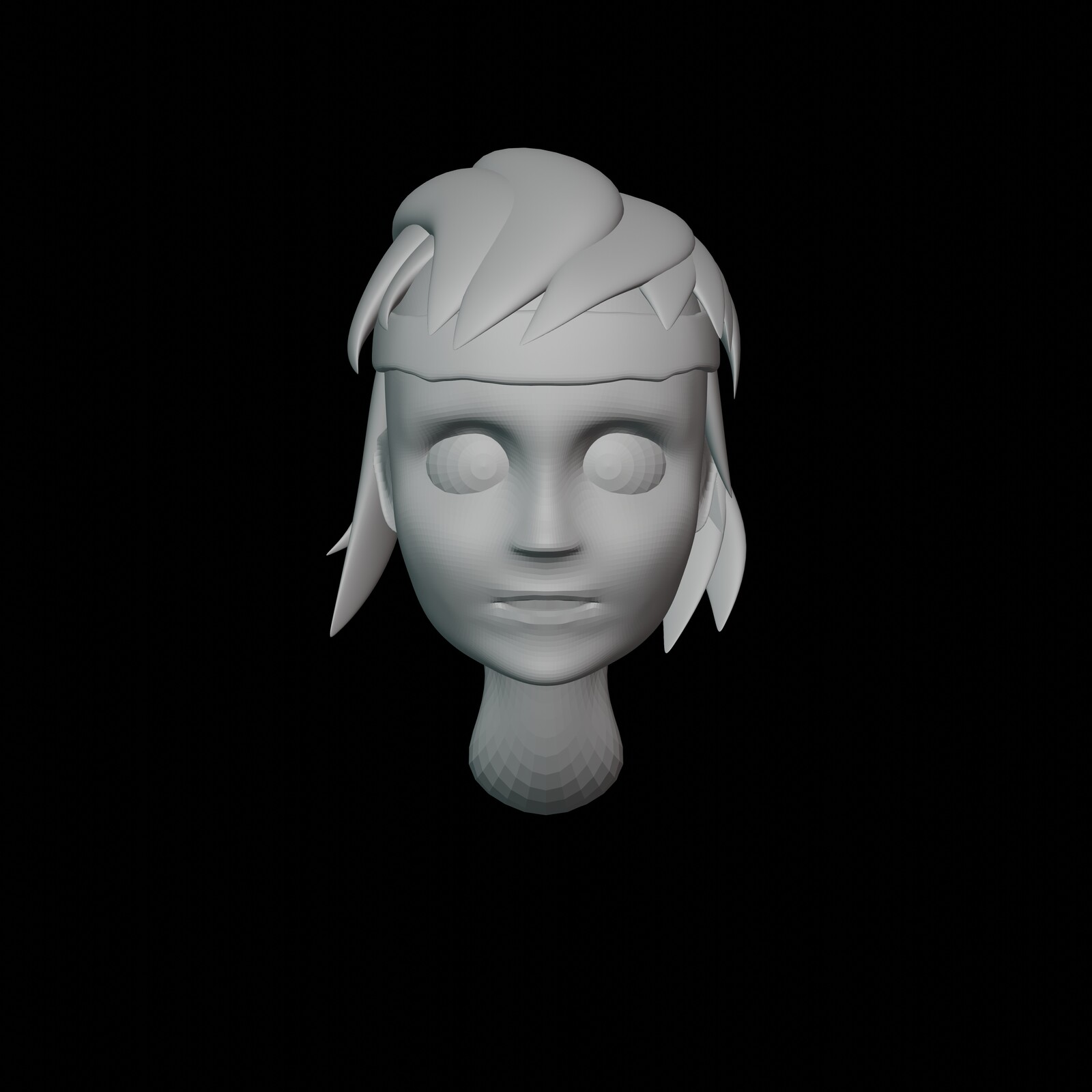 Iteration #1: I first tried getting the shape of the head right. After a while I found out the hair added a lot of mass, so I put some placeholder hairs there to get a better perception of how the head looked.